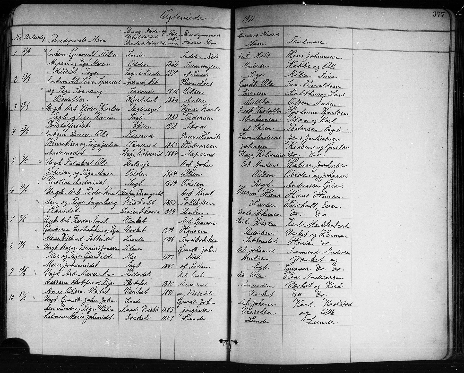 SAKO, Holla kirkebøker, G/Ga/L0005: Klokkerbok nr. I 5, 1891-1917, s. 377