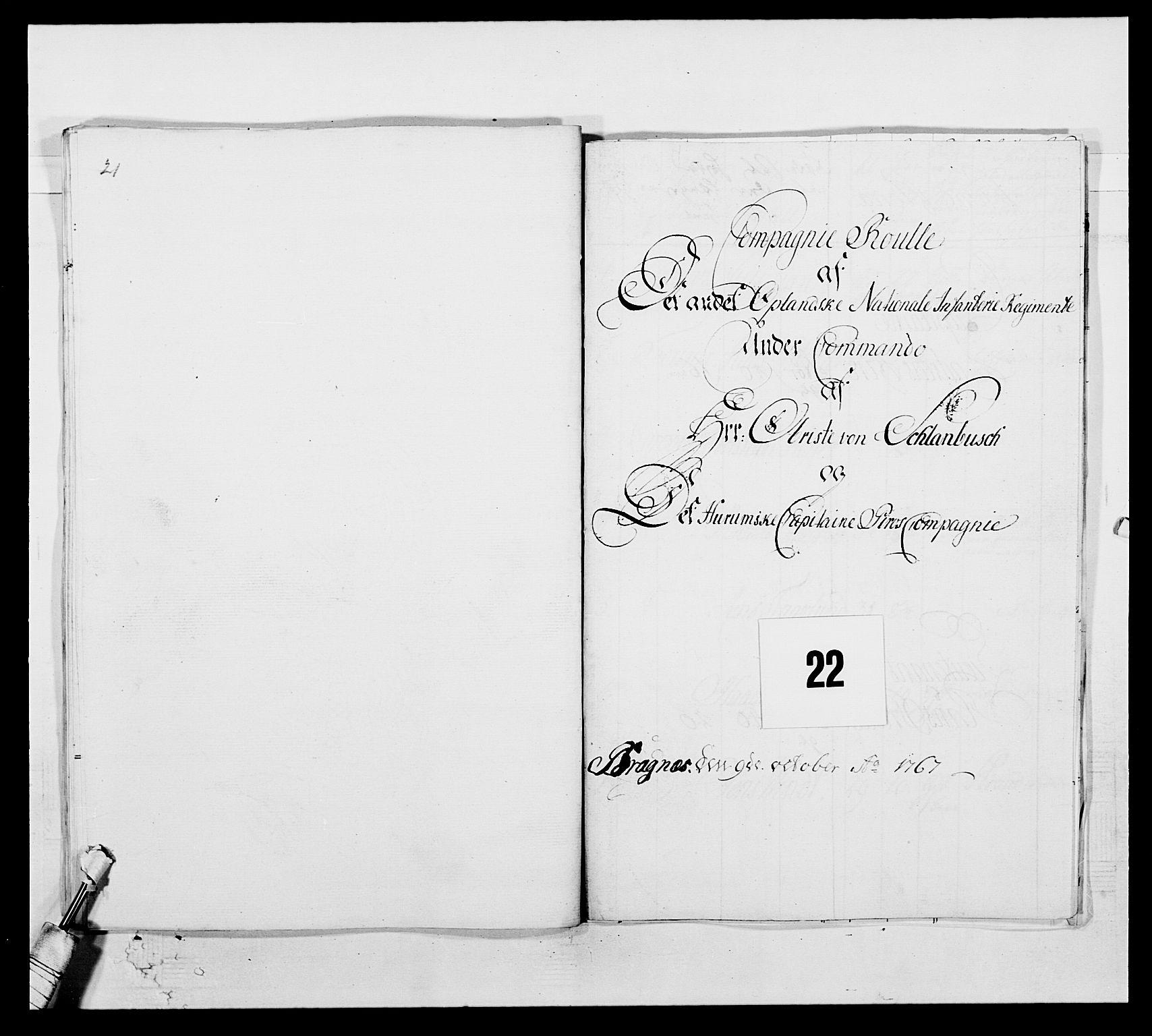 RA, Kommanderende general (KG I) med Det norske krigsdirektorium, E/Ea/L0507: 2. Opplandske regiment, 1766-1767, s. 488