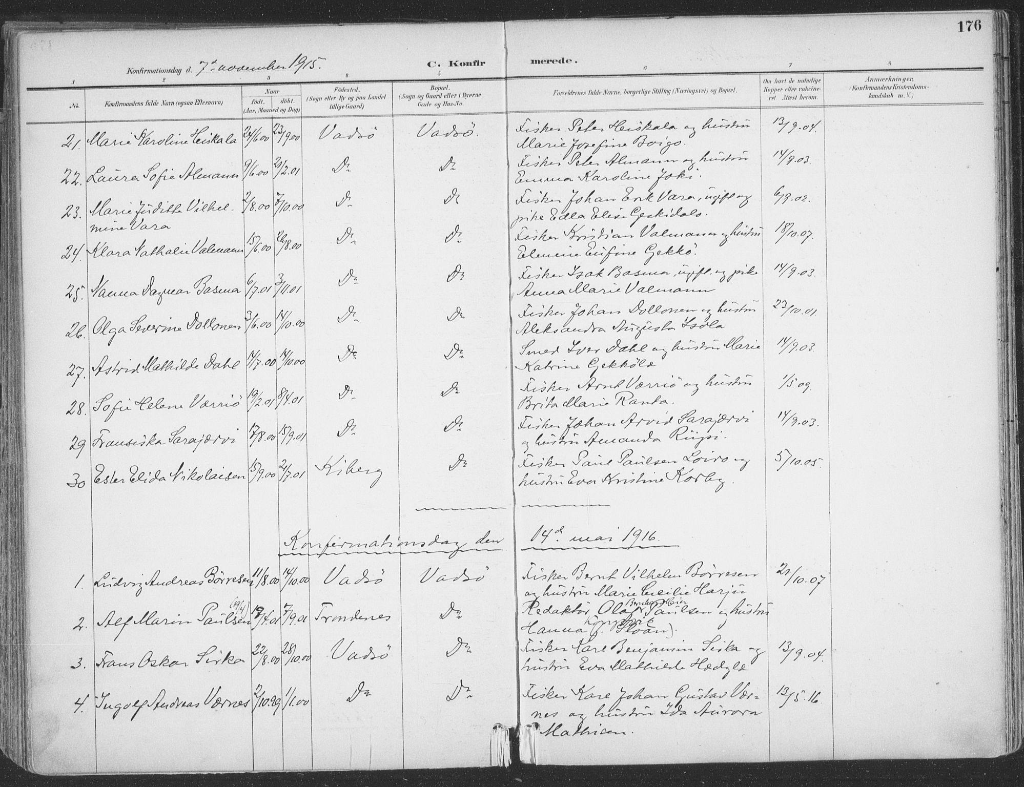 SATØ, Vadsø sokneprestkontor, H/Ha/L0007kirke: Ministerialbok nr. 7, 1896-1916, s. 176