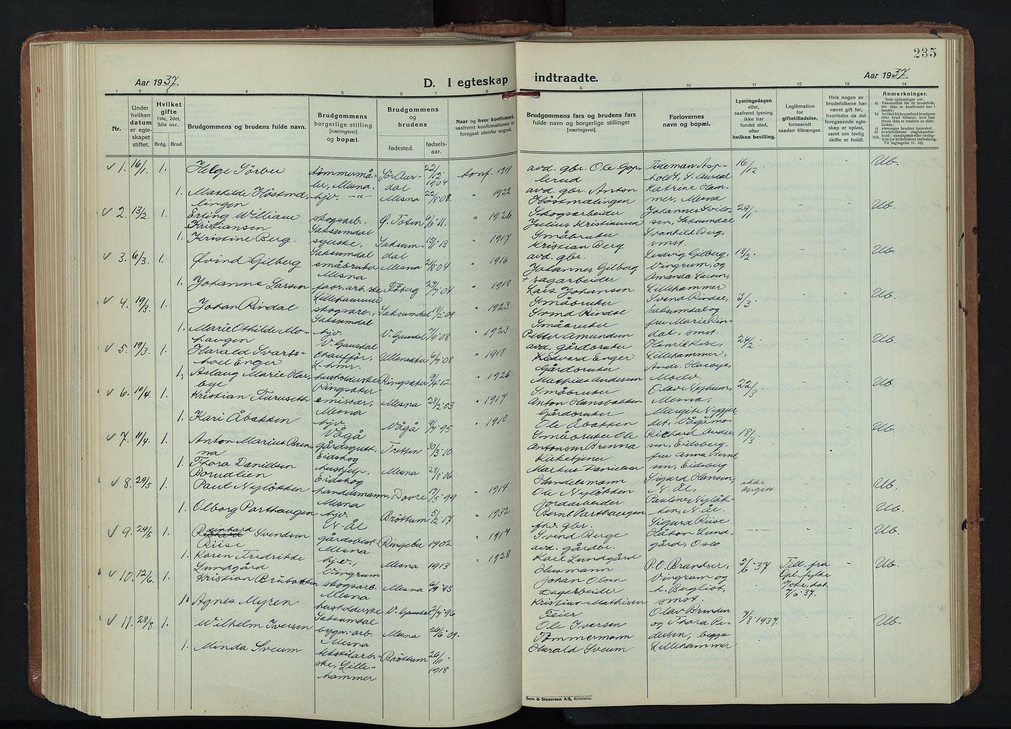 SAH, Fåberg prestekontor, Klokkerbok nr. 15, 1924-1949, s. 235
