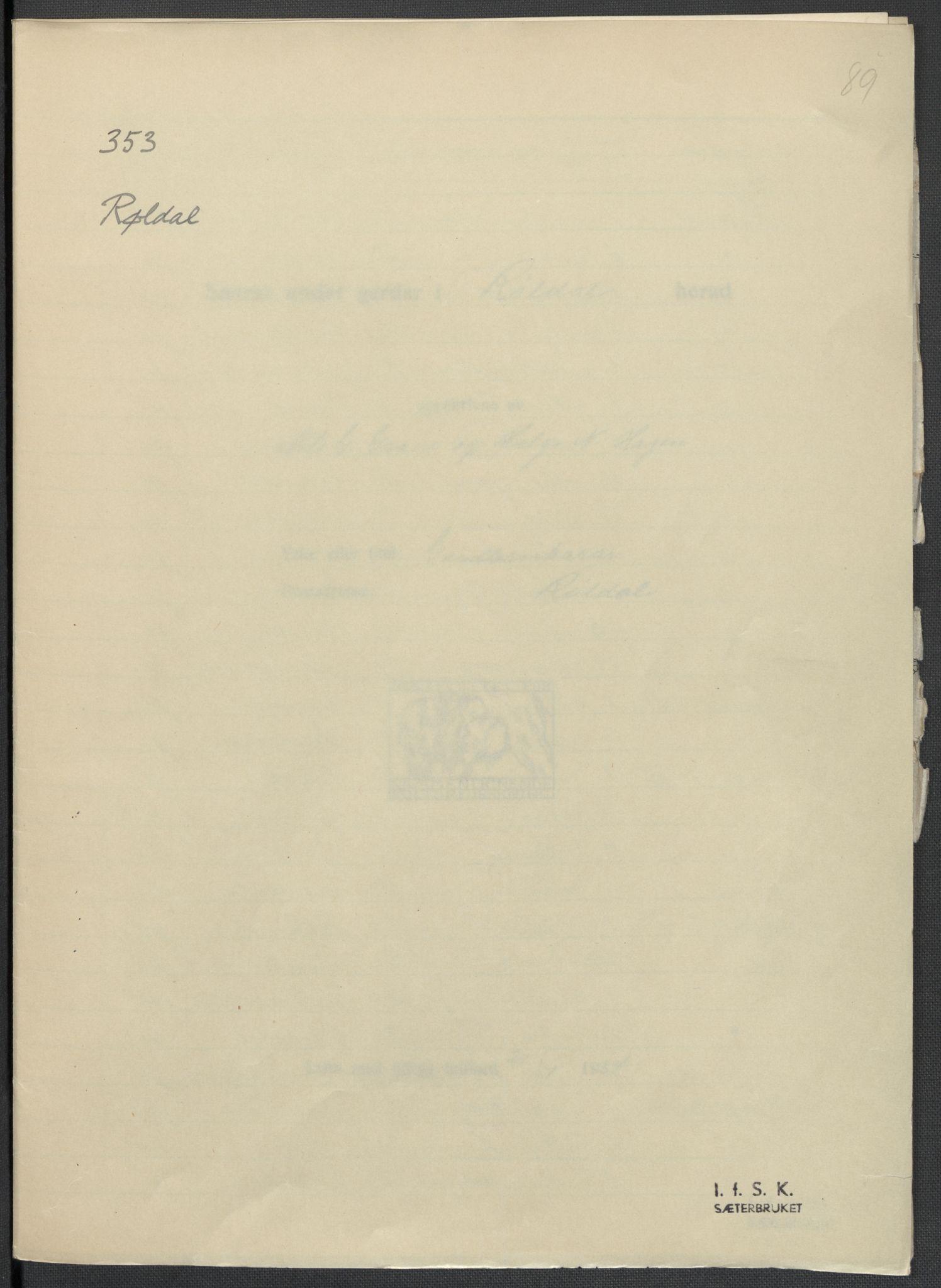 RA, Instituttet for sammenlignende kulturforskning, F/Fc/L0010: Eske B10:, 1932-1935, s. 89