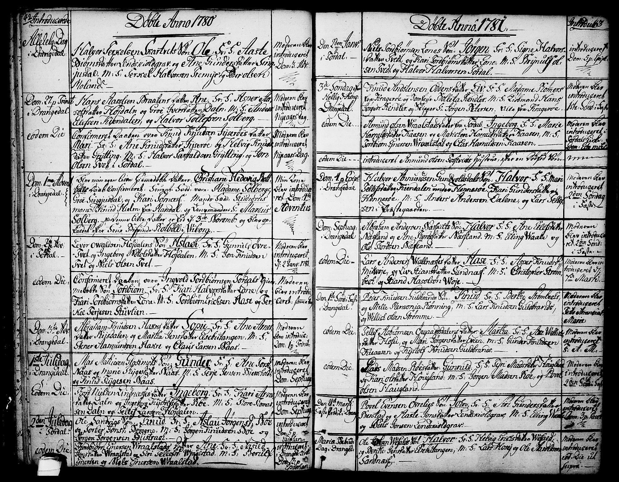 SAKO, Drangedal kirkebøker, F/Fa/L0003: Ministerialbok nr. 3, 1768-1814, s. 42-43
