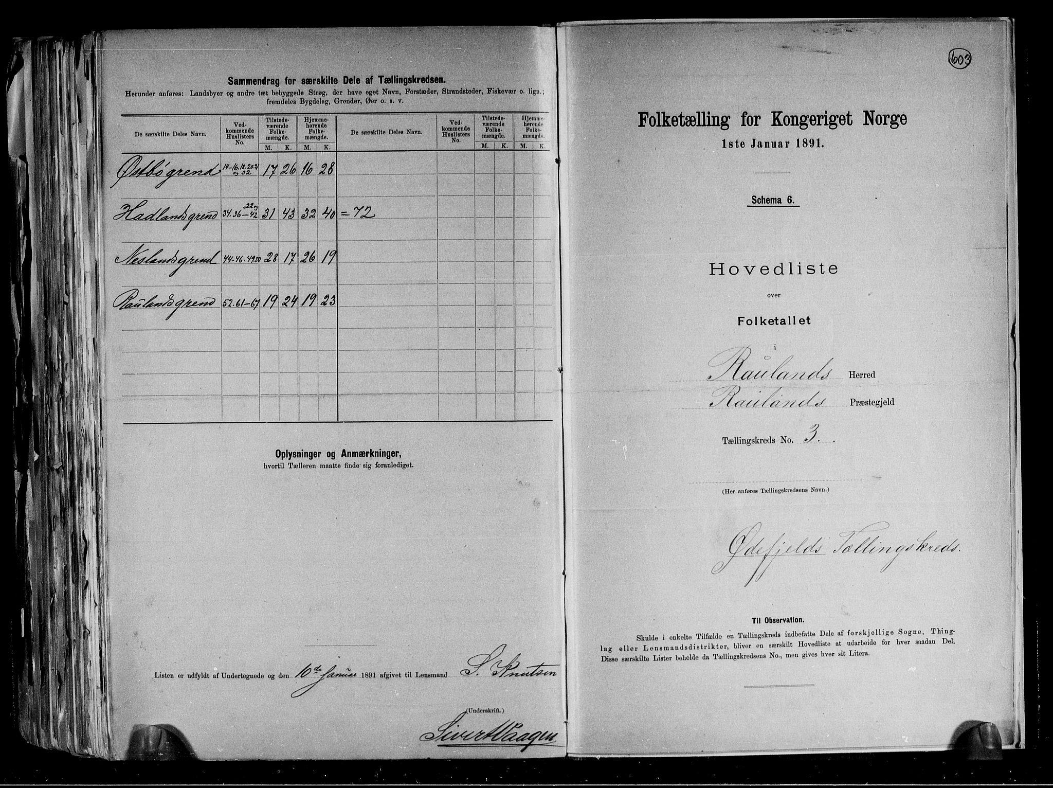 RA, Folketelling 1891 for 0835 Rauland herred, 1891, s. 9