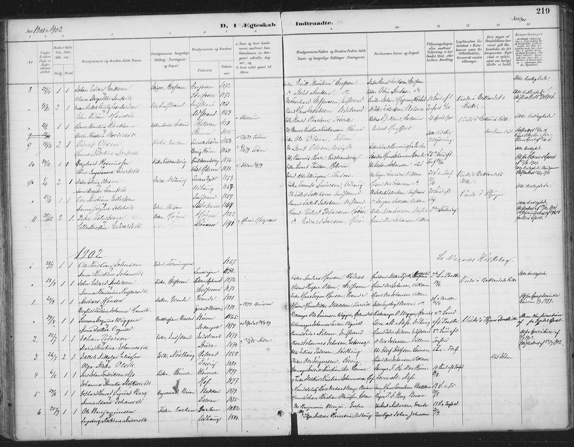 SAT, Ministerialprotokoller, klokkerbøker og fødselsregistre - Sør-Trøndelag, 659/L0743: Ministerialbok nr. 659A13, 1893-1910, s. 219