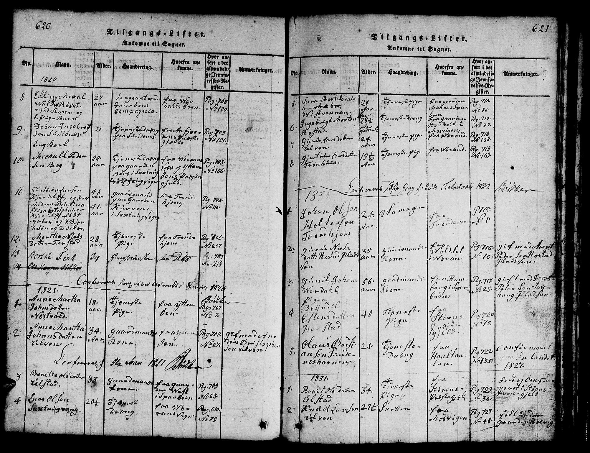 SAT, Ministerialprotokoller, klokkerbøker og fødselsregistre - Nord-Trøndelag, 730/L0298: Klokkerbok nr. 730C01, 1816-1849, s. 620-621