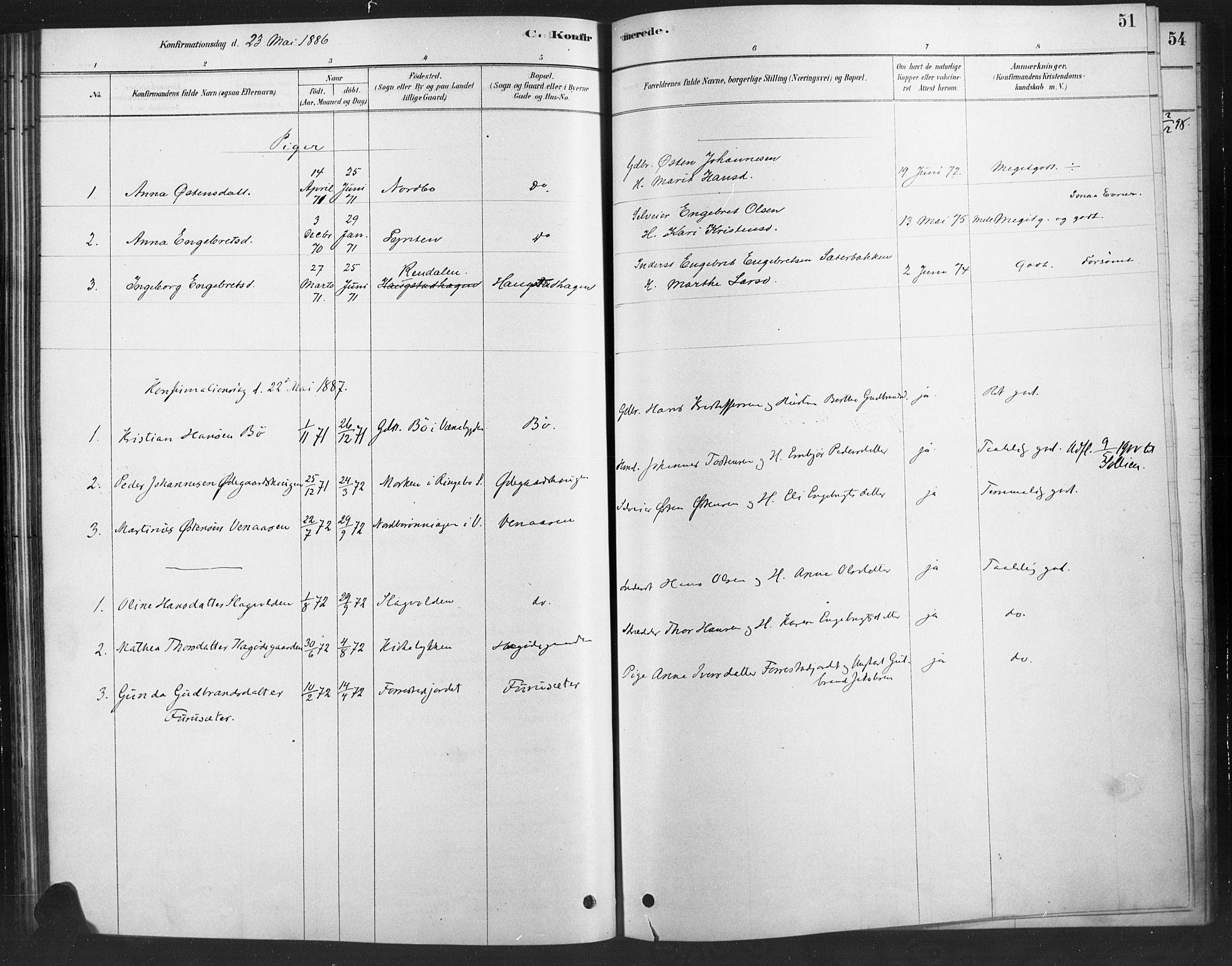 SAH, Ringebu prestekontor, Ministerialbok nr. 10, 1878-1898, s. 51