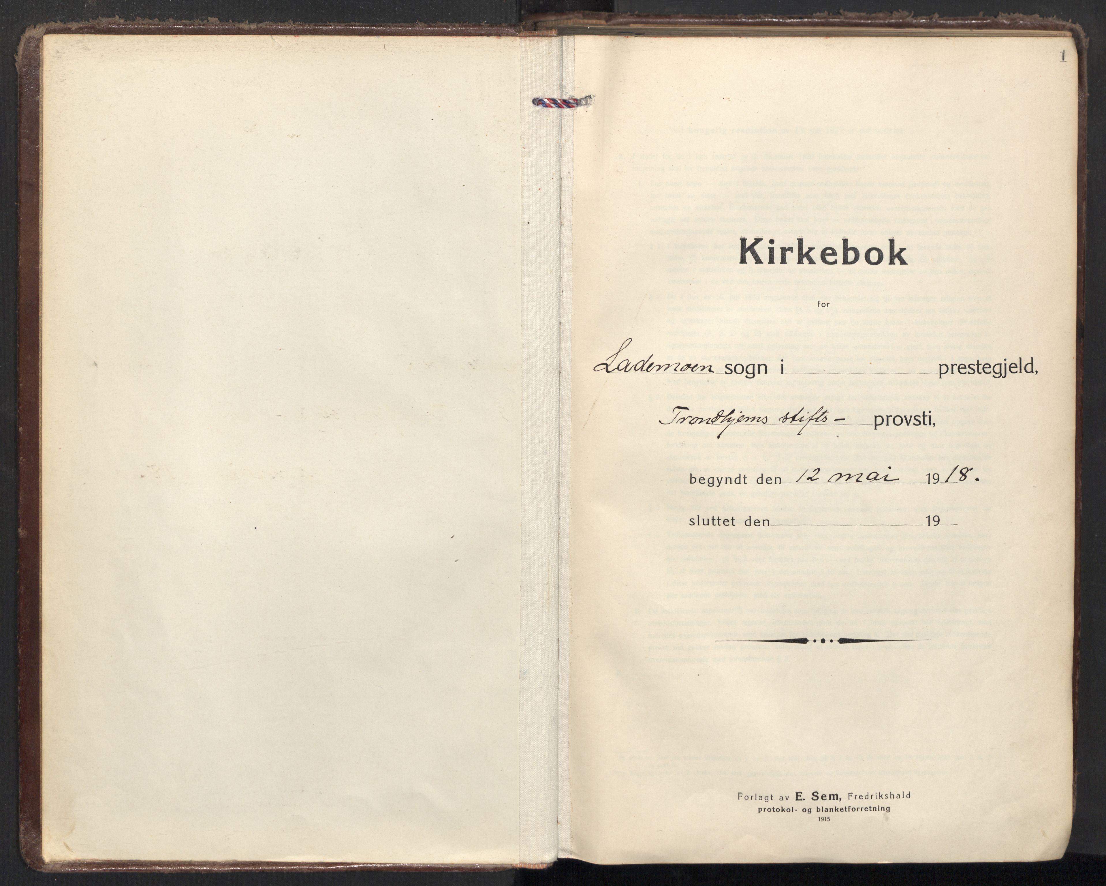 SAT, Ministerialprotokoller, klokkerbøker og fødselsregistre - Sør-Trøndelag, 605/L0247: Ministerialbok nr. 605A09, 1918-1930, s. 1