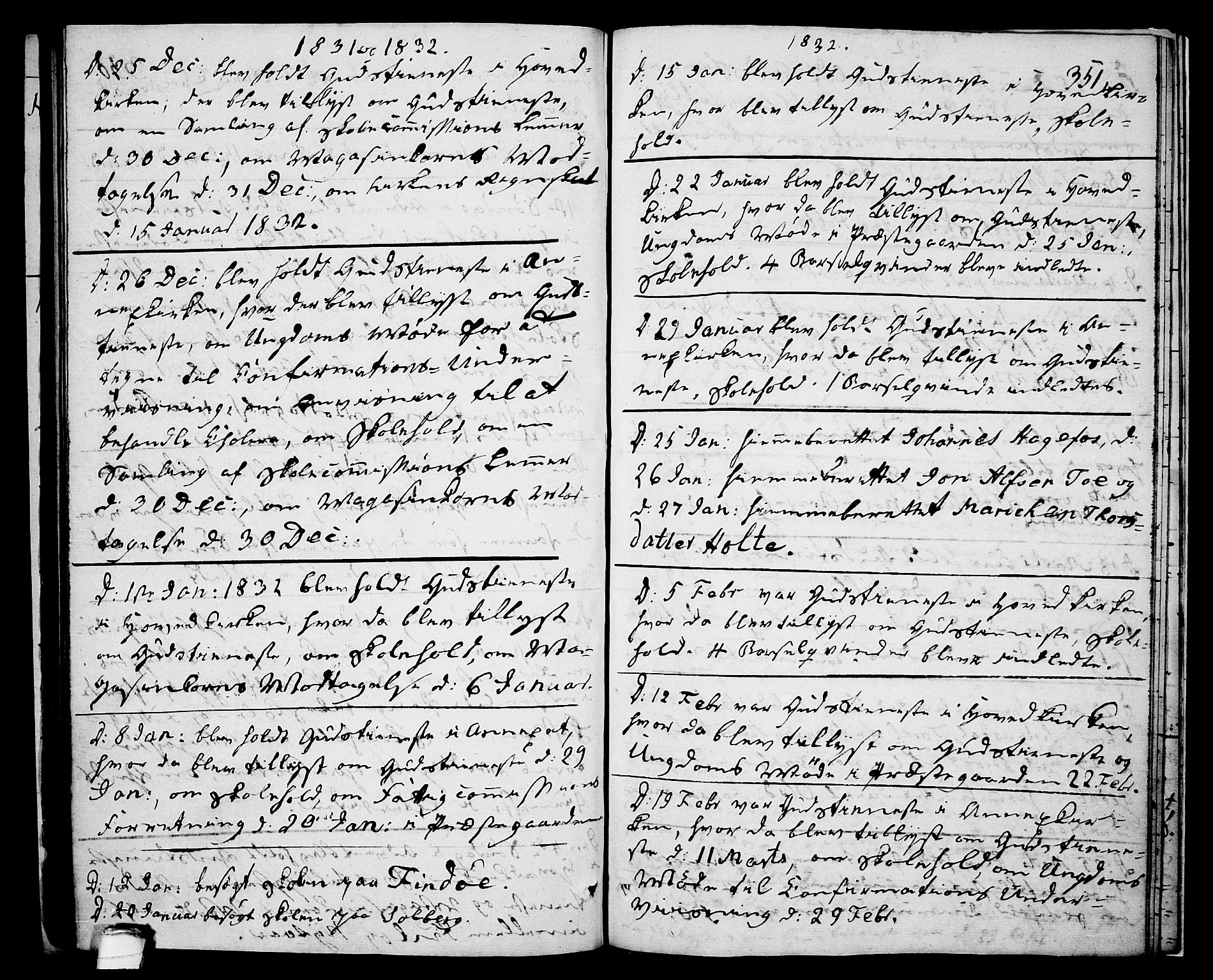 SAKO, Drangedal kirkebøker, F/Fa/L0006: Ministerialbok nr. 6, 1831-1837, s. 351