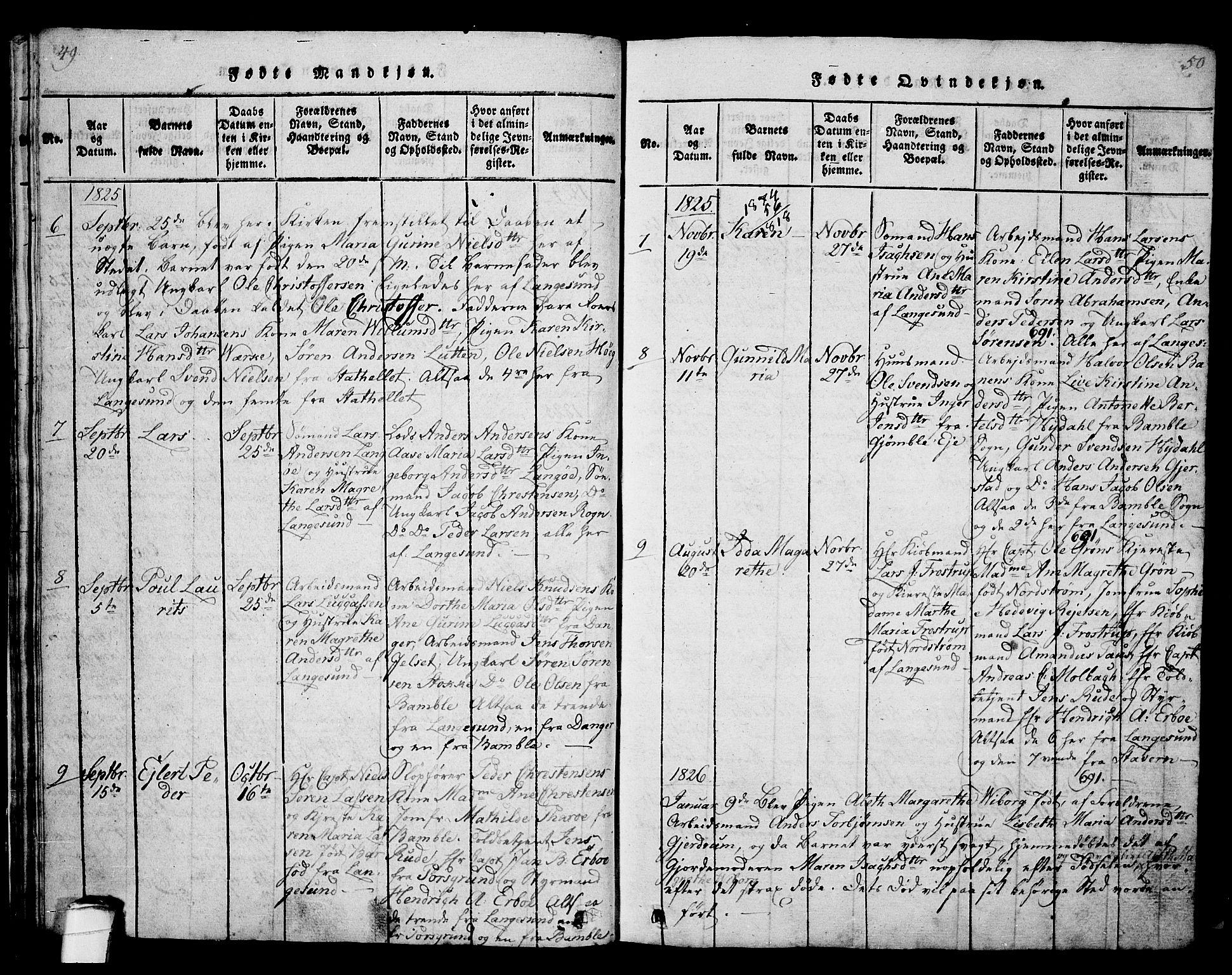 SAKO, Langesund kirkebøker, G/Ga/L0003: Klokkerbok nr. 3, 1815-1858, s. 49-50