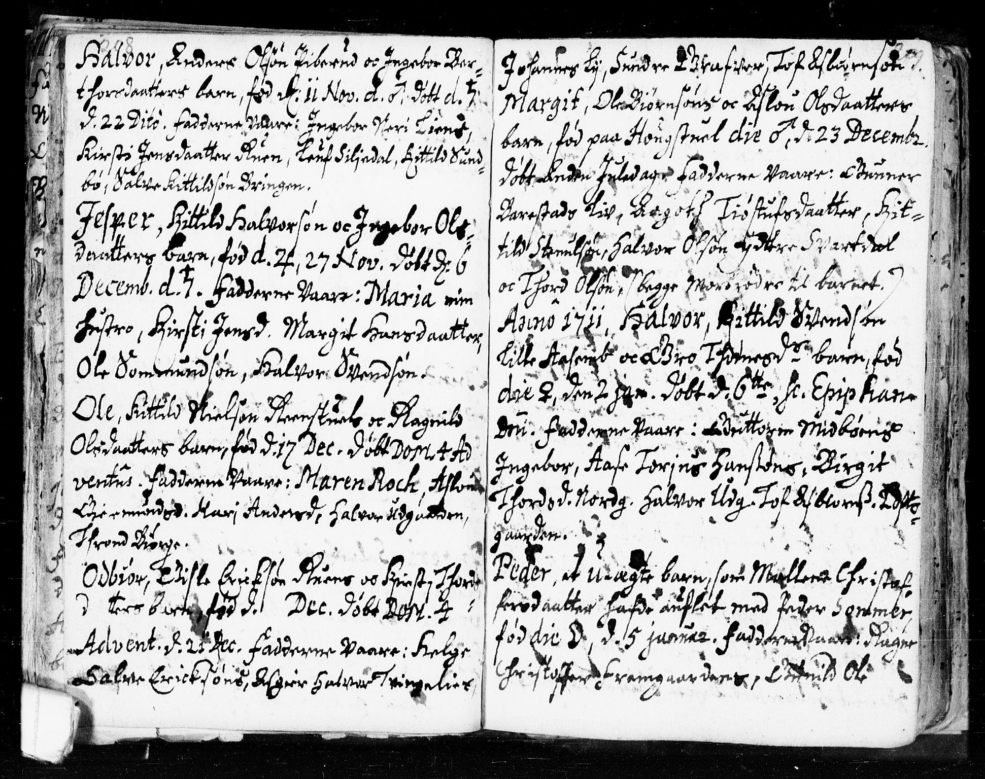 SAKO, Seljord kirkebøker, F/Fa/L0002: Ministerialbok nr. I 2, 1689-1713, s. 208-209