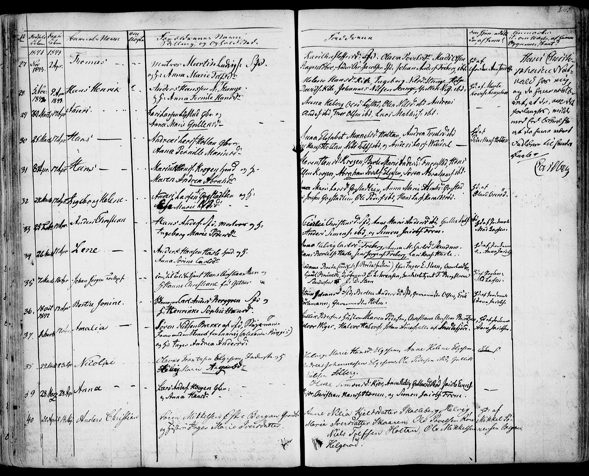 SAKO, Sandar kirkebøker, F/Fa/L0005: Ministerialbok nr. 5, 1832-1847, s. 244-245