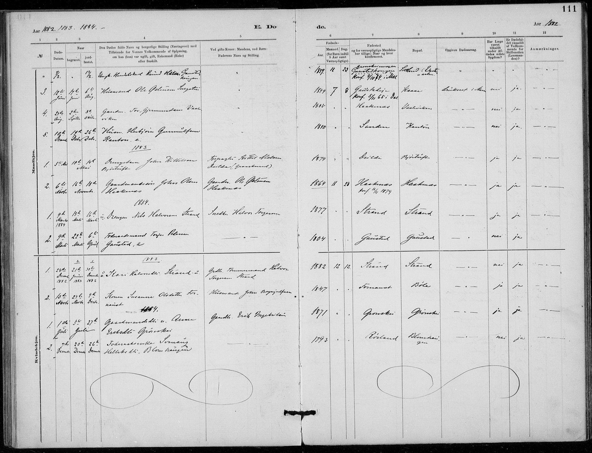 SAKO, Tinn kirkebøker, F/Fb/L0002: Ministerialbok nr. II 2, 1878-1917, s. 111
