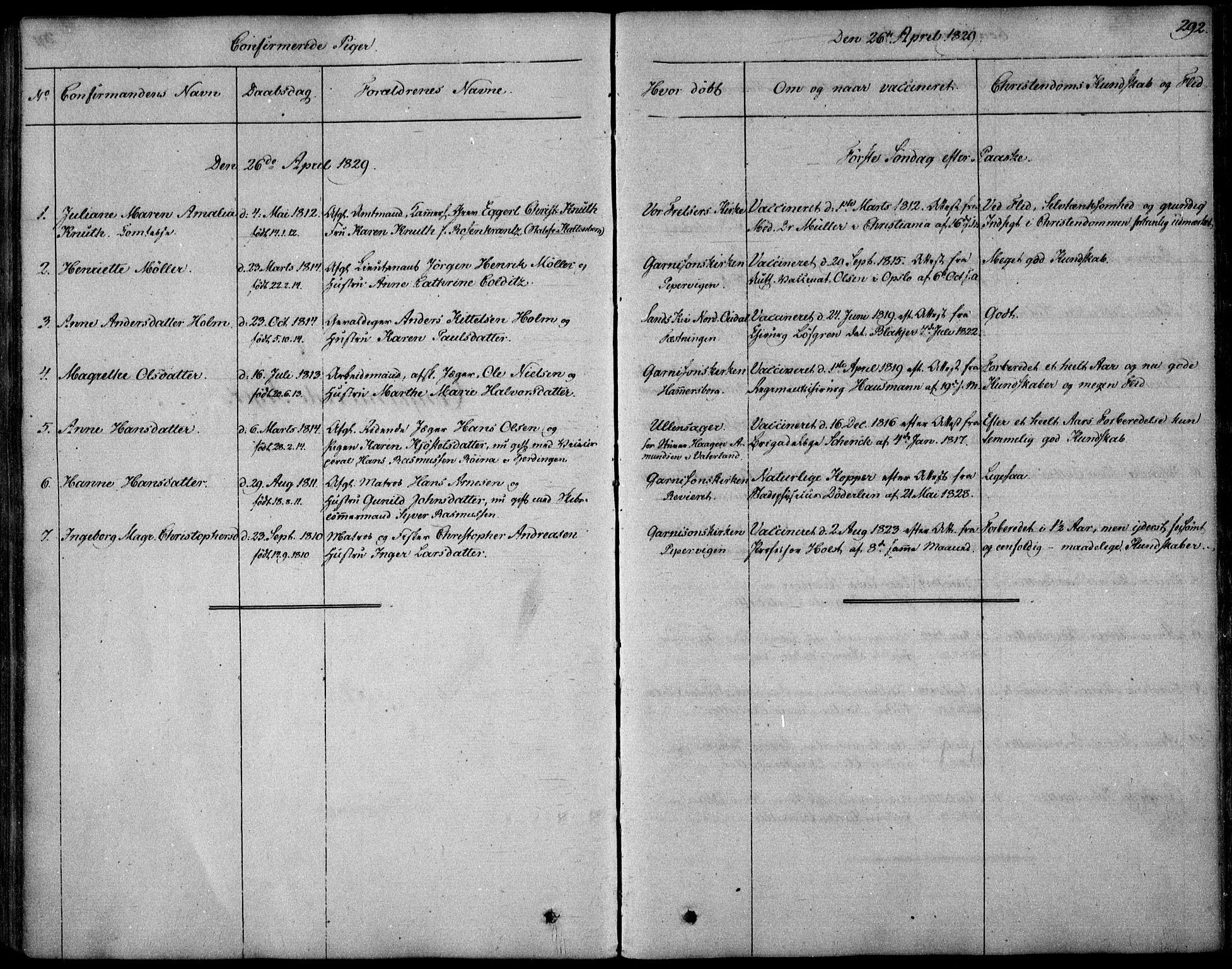SAO, Garnisonsmenigheten Kirkebøker, F/Fa/L0006: Ministerialbok nr. 6, 1828-1841, s. 292