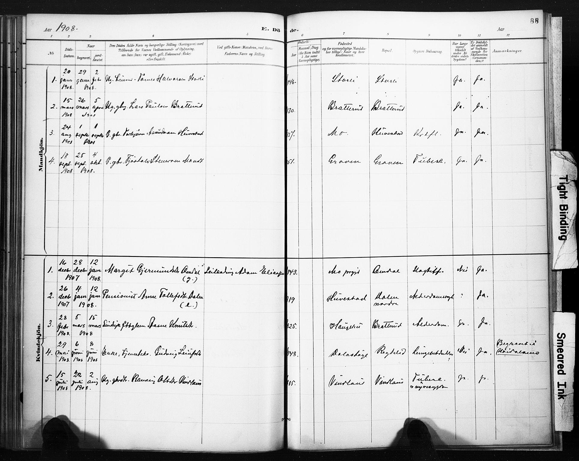 SAKO, Lårdal kirkebøker, F/Fb/L0002: Ministerialbok nr. II 2, 1887-1918, s. 88