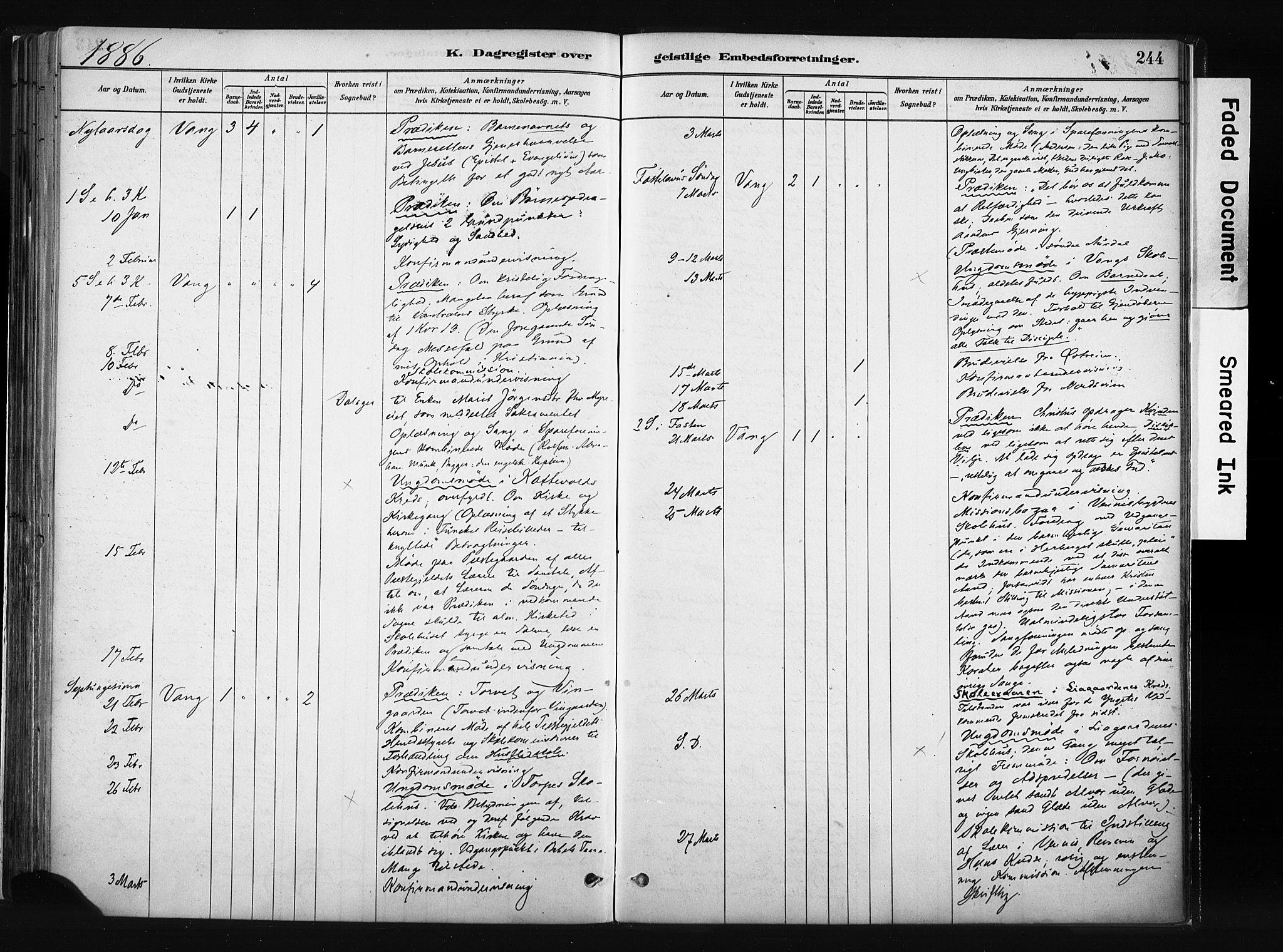 SAH, Vang prestekontor, Valdres, Ministerialbok nr. 8, 1882-1910, s. 244
