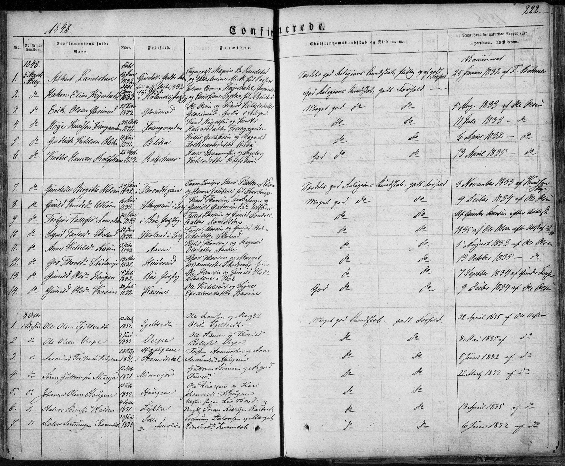 SAKO, Seljord kirkebøker, F/Fa/L0011: Ministerialbok nr. I 11, 1831-1849, s. 222