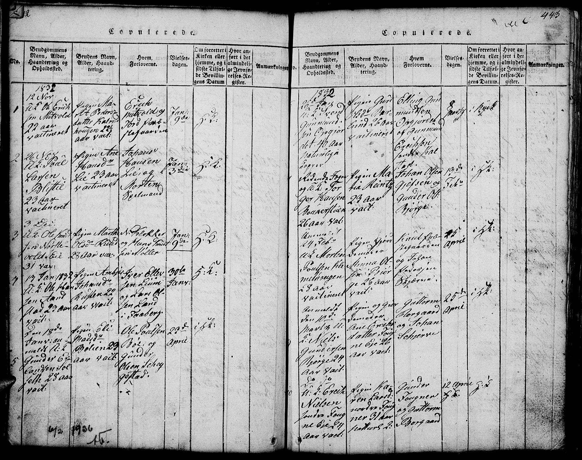 SAH, Gausdal prestekontor, Klokkerbok nr. 1, 1817-1848, s. 442-443