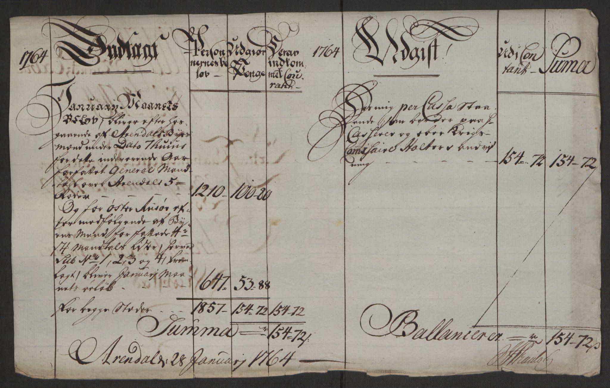 RA, Rentekammeret inntil 1814, Reviderte regnskaper, Byregnskaper, R/Rl/L0230: [L4] Kontribusjonsregnskap, 1762-1764, s. 420