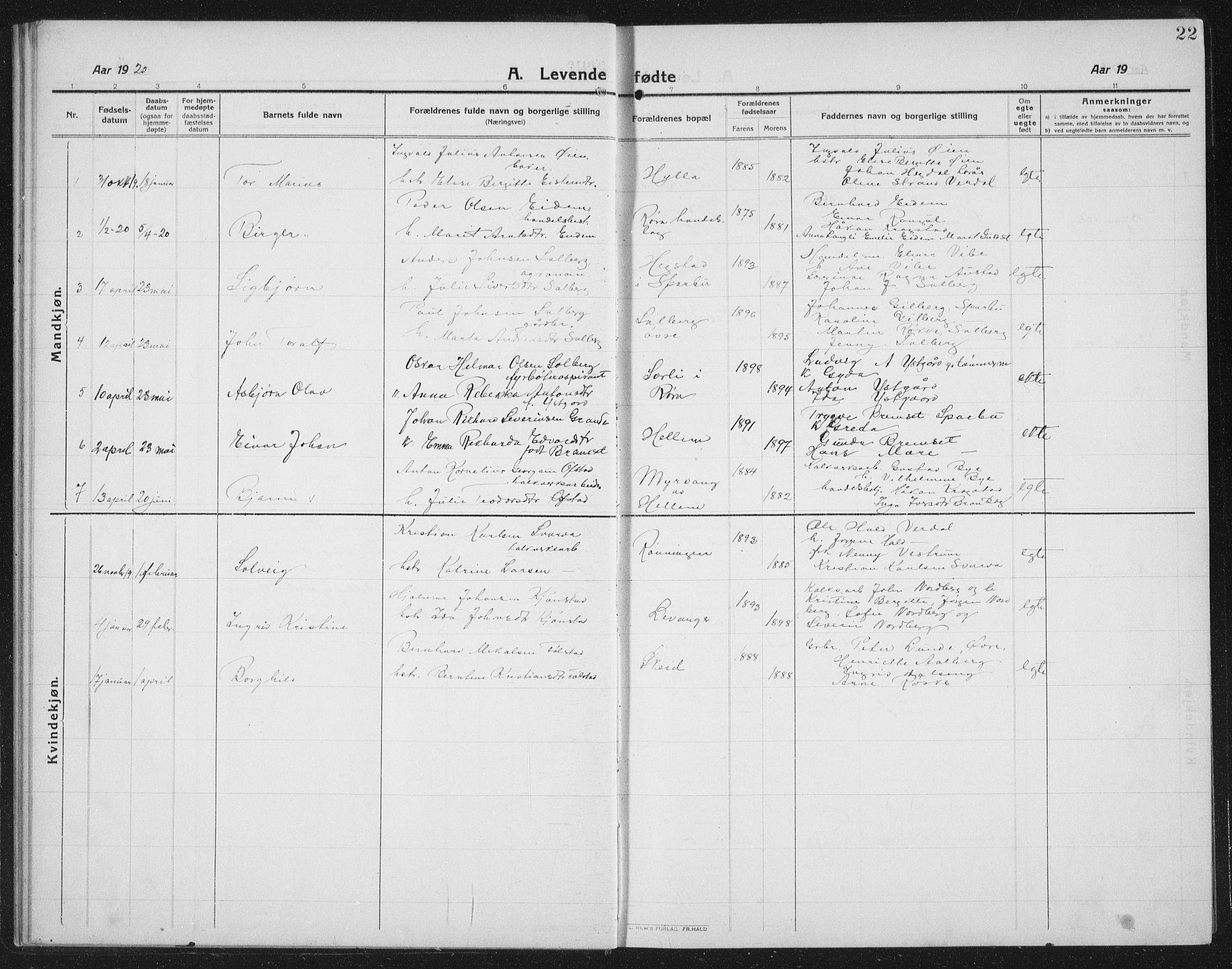 SAT, Ministerialprotokoller, klokkerbøker og fødselsregistre - Nord-Trøndelag, 731/L0312: Klokkerbok nr. 731C03, 1911-1935, s. 22