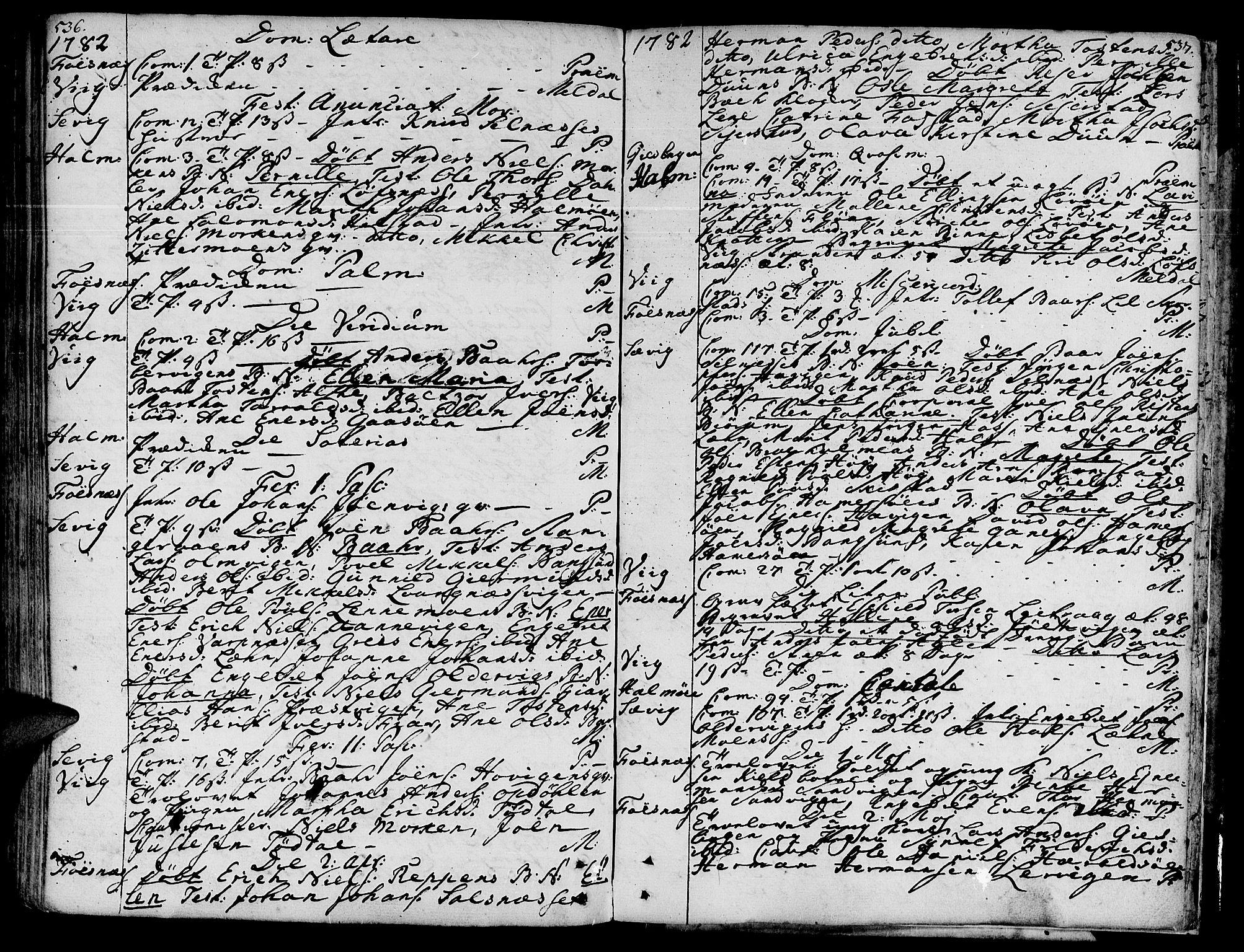 SAT, Ministerialprotokoller, klokkerbøker og fødselsregistre - Nord-Trøndelag, 773/L0607: Ministerialbok nr. 773A01, 1751-1783, s. 536-537