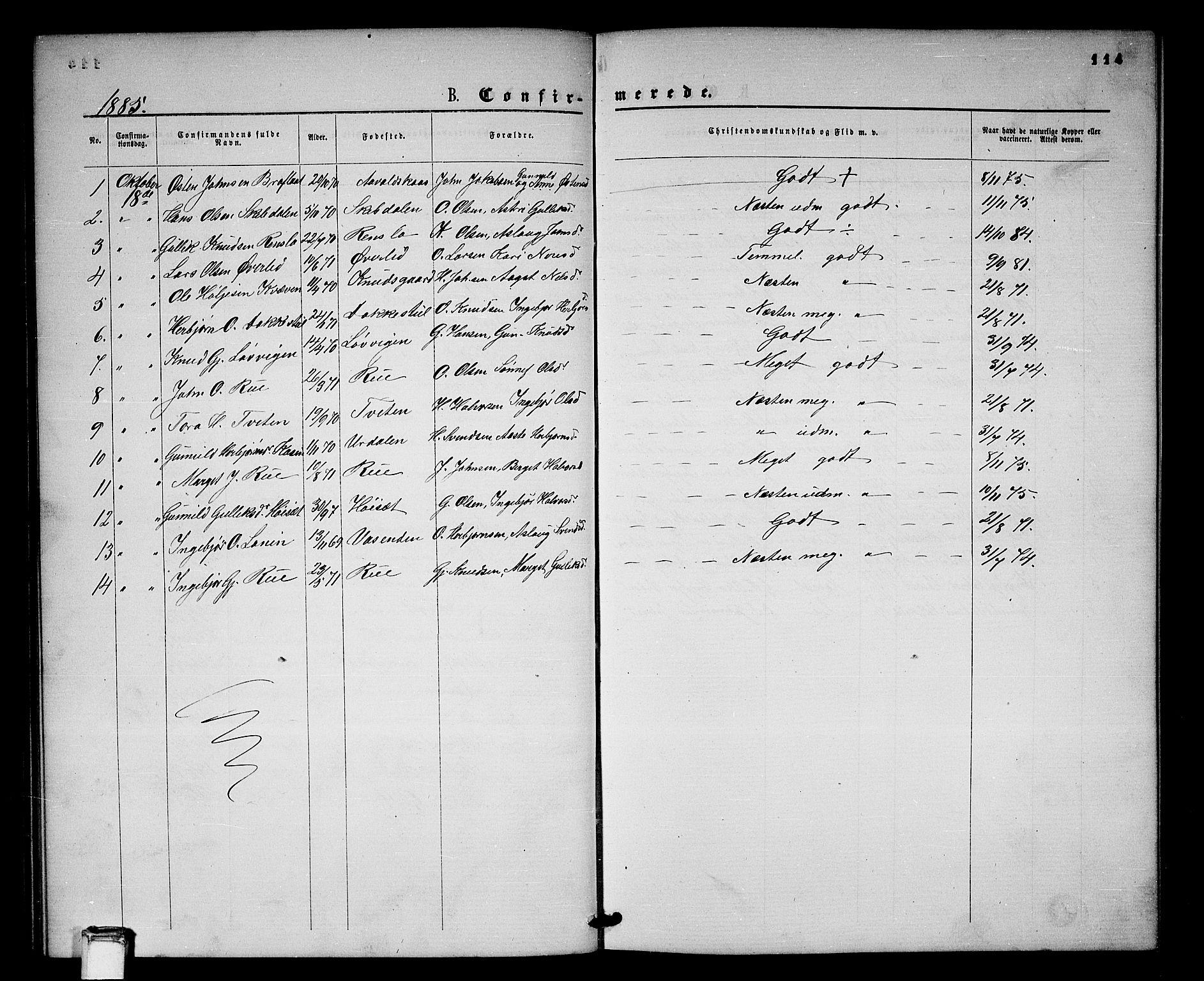SAKO, Gransherad kirkebøker, G/Gb/L0002: Klokkerbok nr. II 2, 1860-1886, s. 114