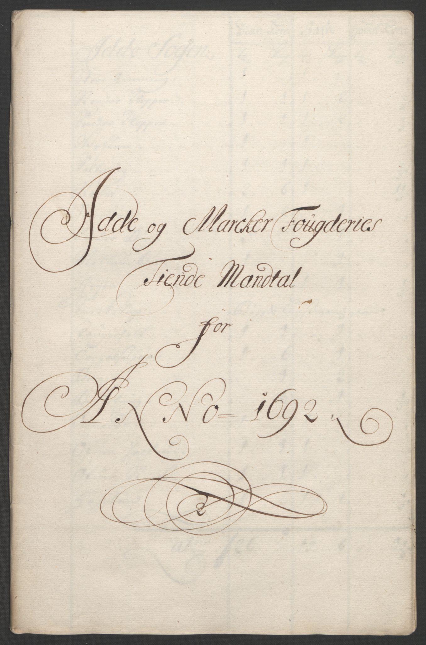 RA, Rentekammeret inntil 1814, Reviderte regnskaper, Fogderegnskap, R01/L0011: Fogderegnskap Idd og Marker, 1692-1693, s. 38