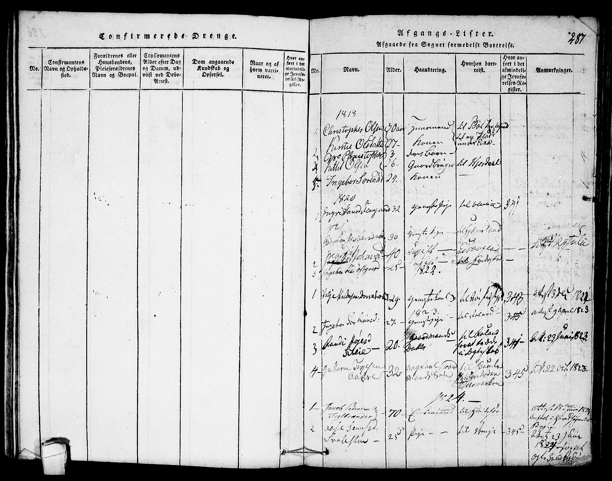 SAKO, Seljord kirkebøker, F/Fb/L0001: Ministerialbok nr. II 1, 1815-1831, s. 287