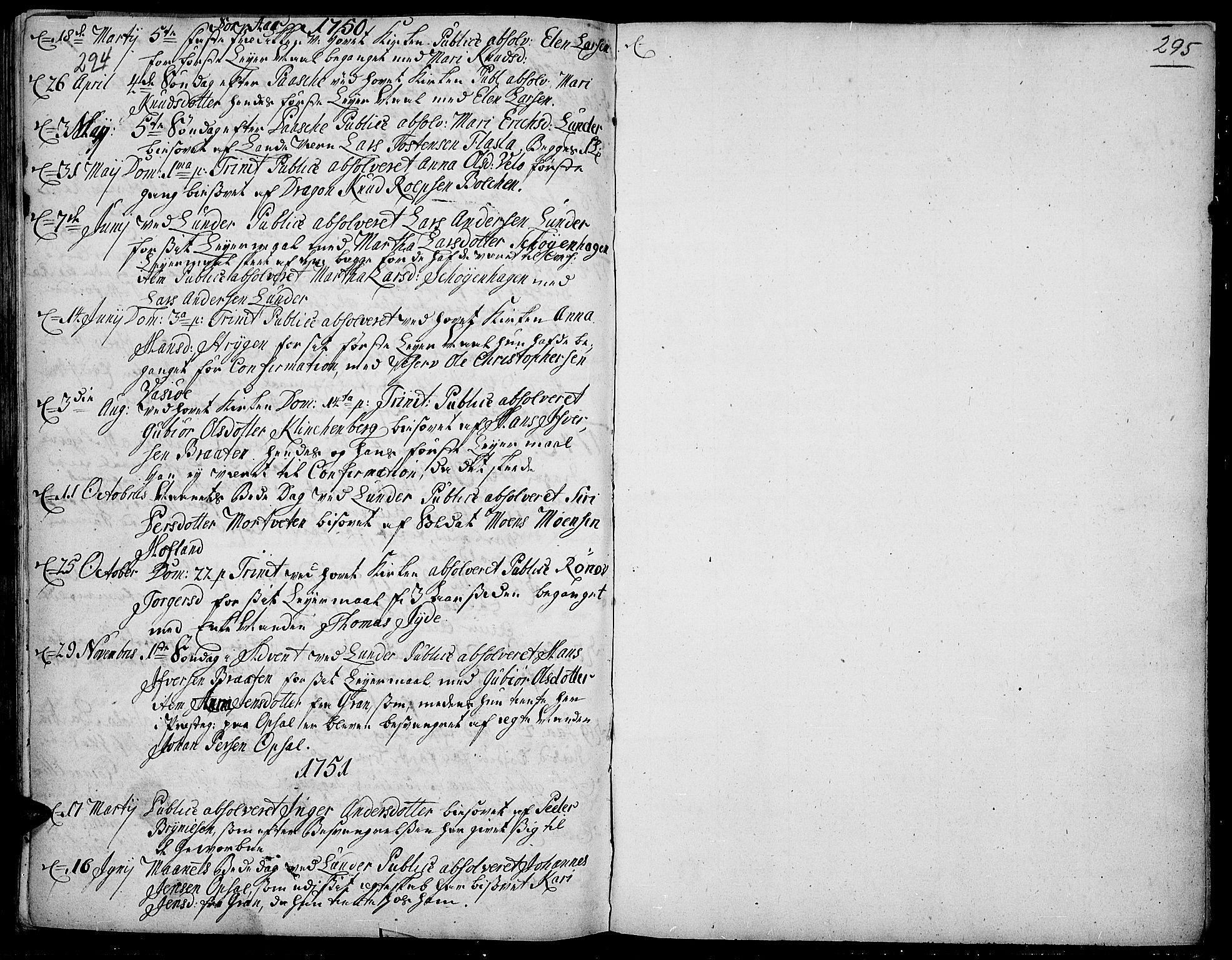 SAH, Jevnaker prestekontor, Ministerialbok nr. 2, 1725-1751, s. 294-295