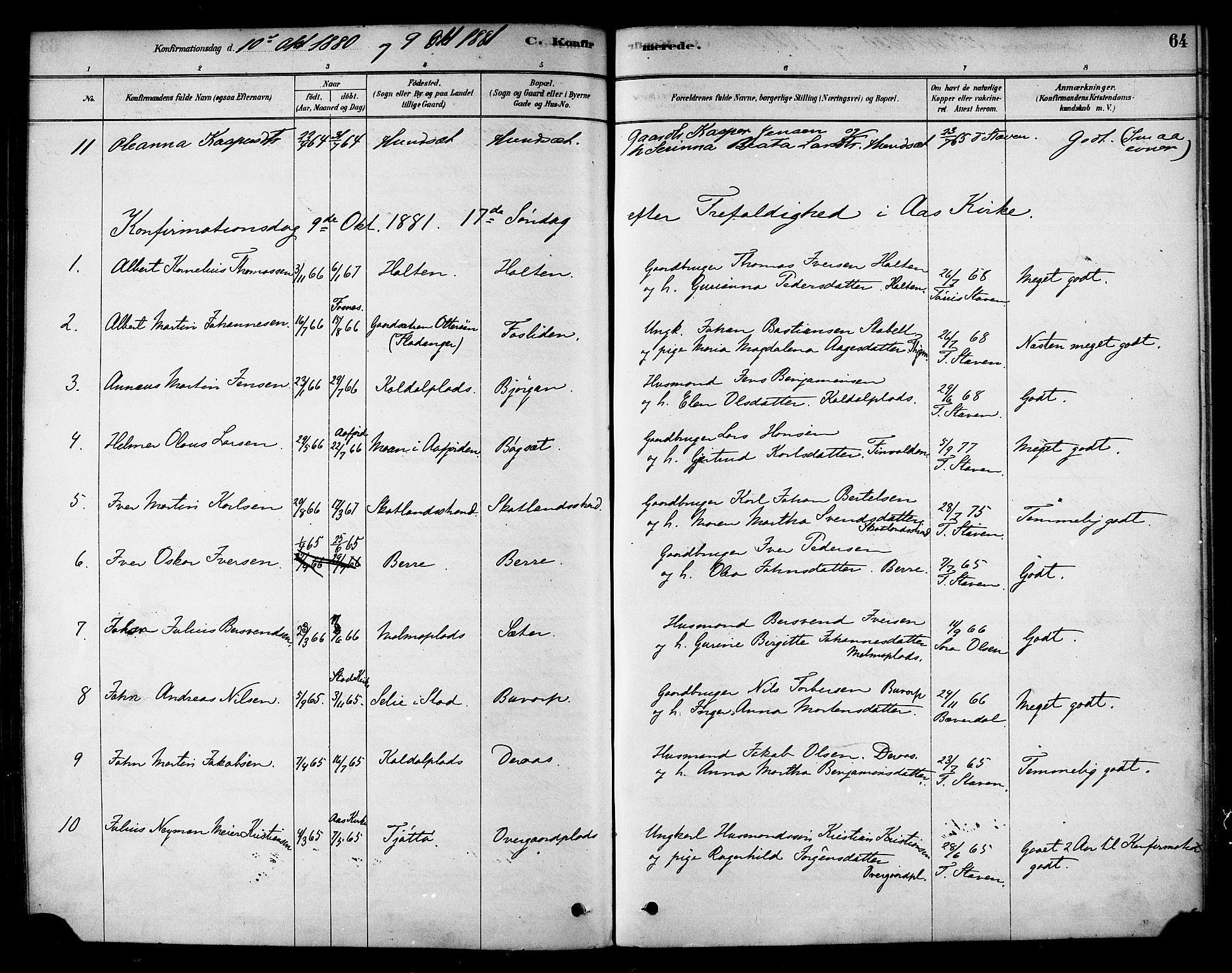 SAT, Ministerialprotokoller, klokkerbøker og fødselsregistre - Nord-Trøndelag, 742/L0408: Ministerialbok nr. 742A01, 1878-1890, s. 64