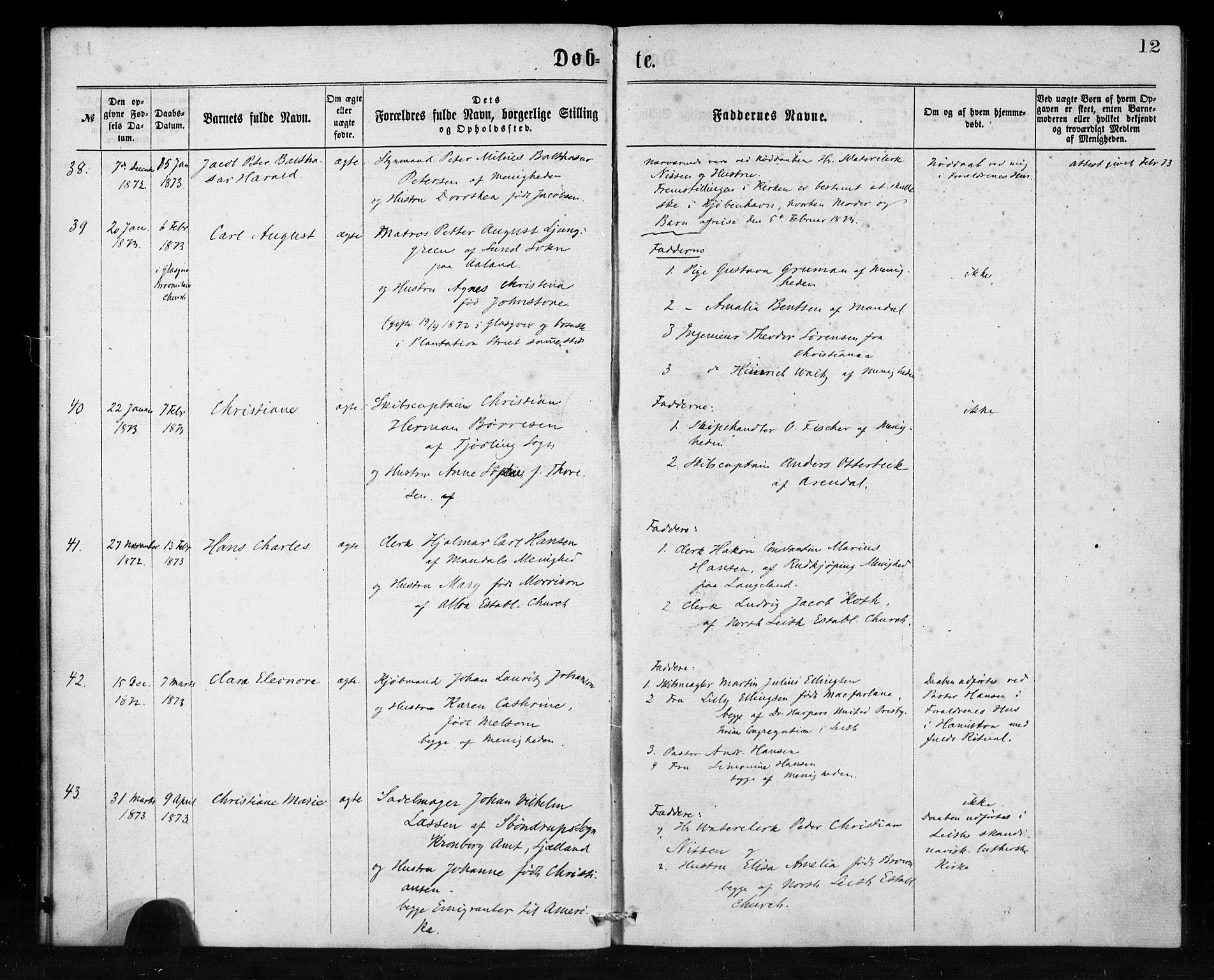 SAB, Den Norske Sjømannsmisjon i utlandet*, Ministerialbok nr. A 1, 1865-1880, s. 12