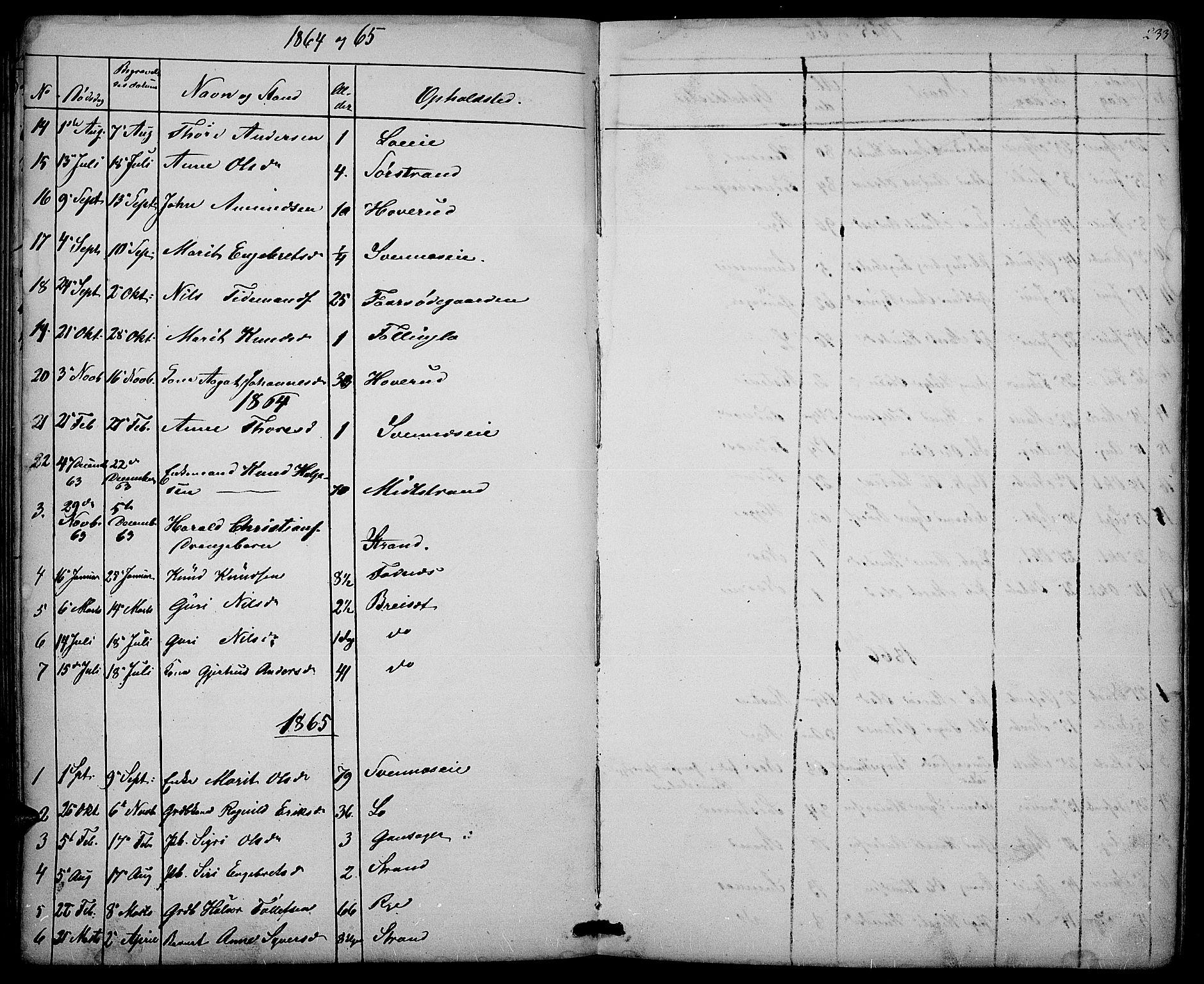 SAH, Nord-Aurdal prestekontor, Klokkerbok nr. 3, 1842-1882, s. 233