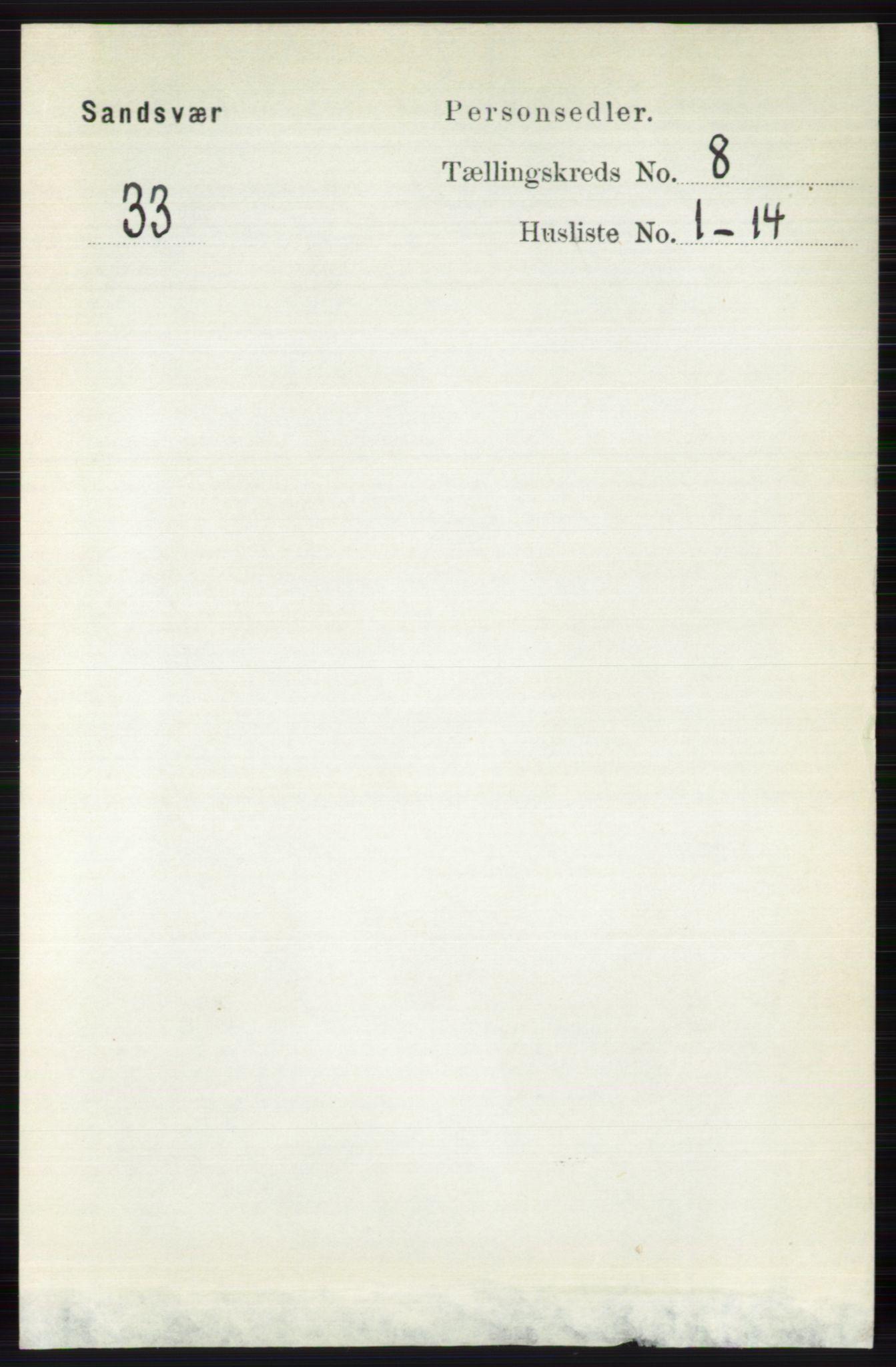 RA, Folketelling 1891 for 0629 Sandsvær herred, 1891, s. 4285