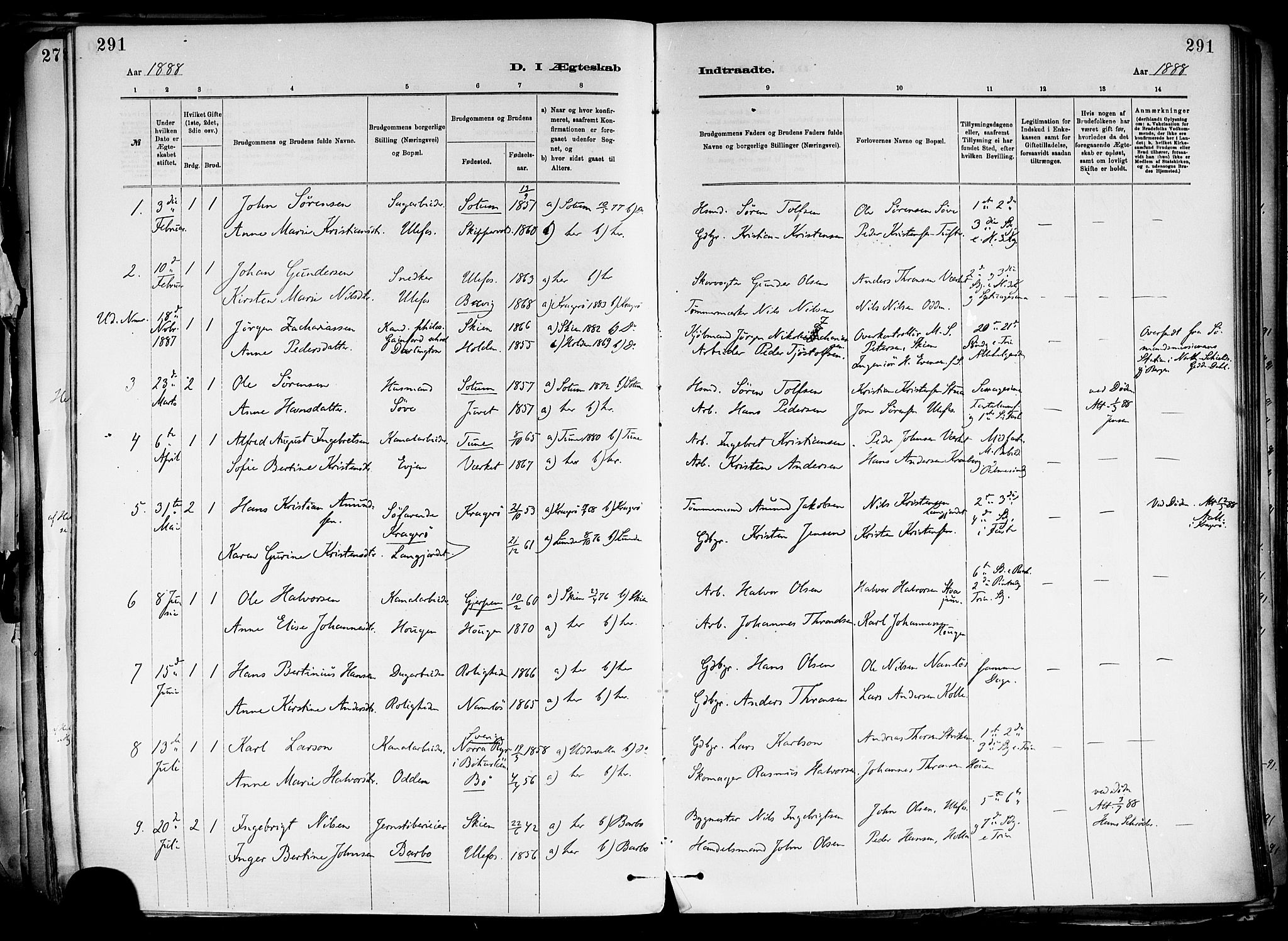 SAKO, Holla kirkebøker, F/Fa/L0008: Ministerialbok nr. 8, 1882-1897, s. 291