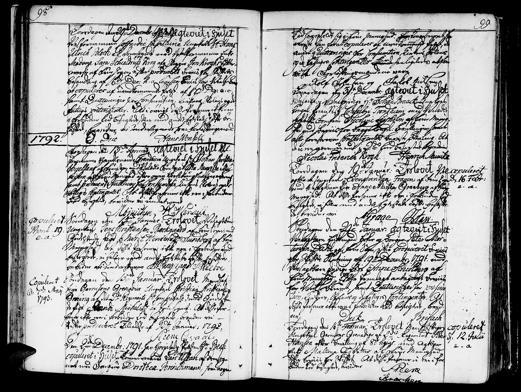 SAT, Ministerialprotokoller, klokkerbøker og fødselsregistre - Sør-Trøndelag, 602/L0105: Ministerialbok nr. 602A03, 1774-1814, s. 98-99
