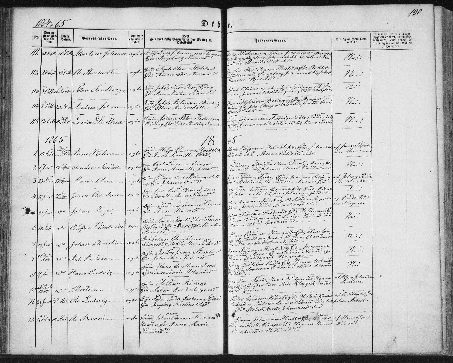 SAT, Ministerialprotokoller, klokkerbøker og fødselsregistre - Nordland, 852/L0738: Ministerialbok nr. 852A08, 1849-1865, s. 130