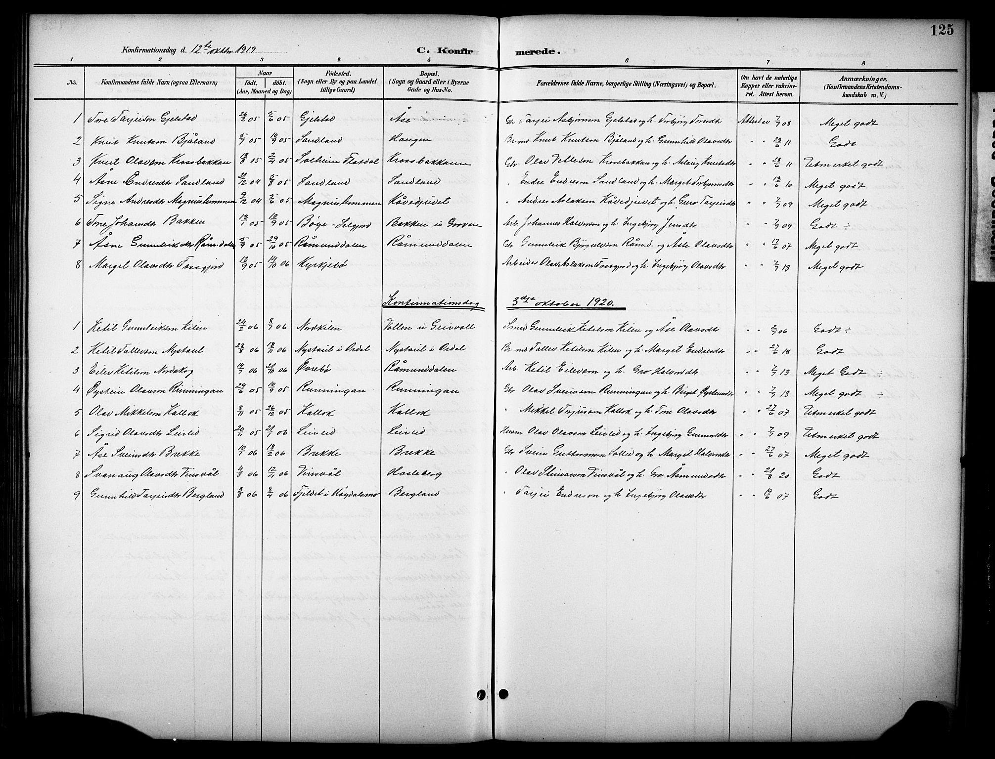 SAKO, Kviteseid kirkebøker, G/Gb/L0003: Klokkerbok nr. II 3, 1893-1933, s. 125