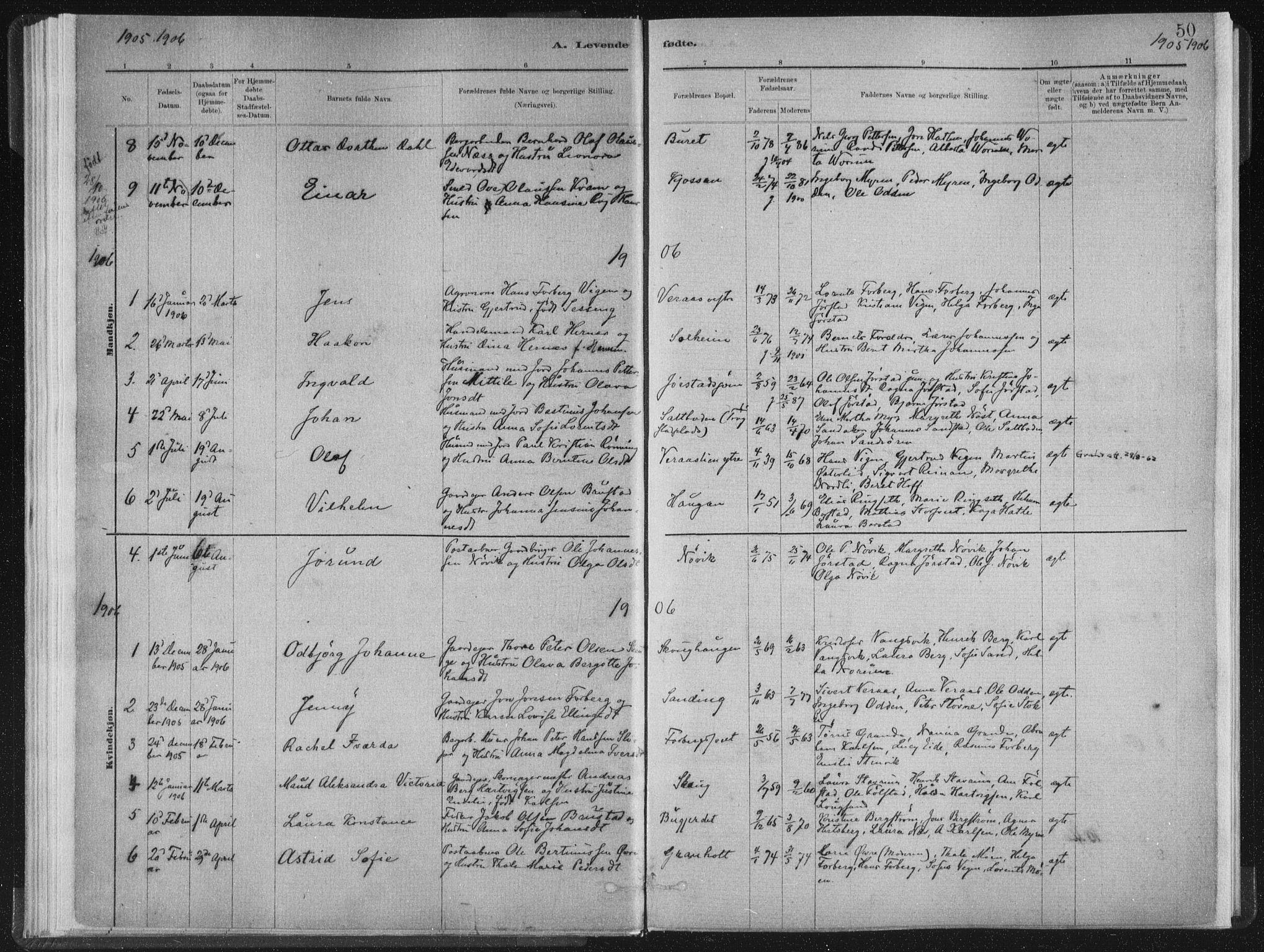 SAT, Ministerialprotokoller, klokkerbøker og fødselsregistre - Nord-Trøndelag, 722/L0220: Ministerialbok nr. 722A07, 1881-1908, s. 50