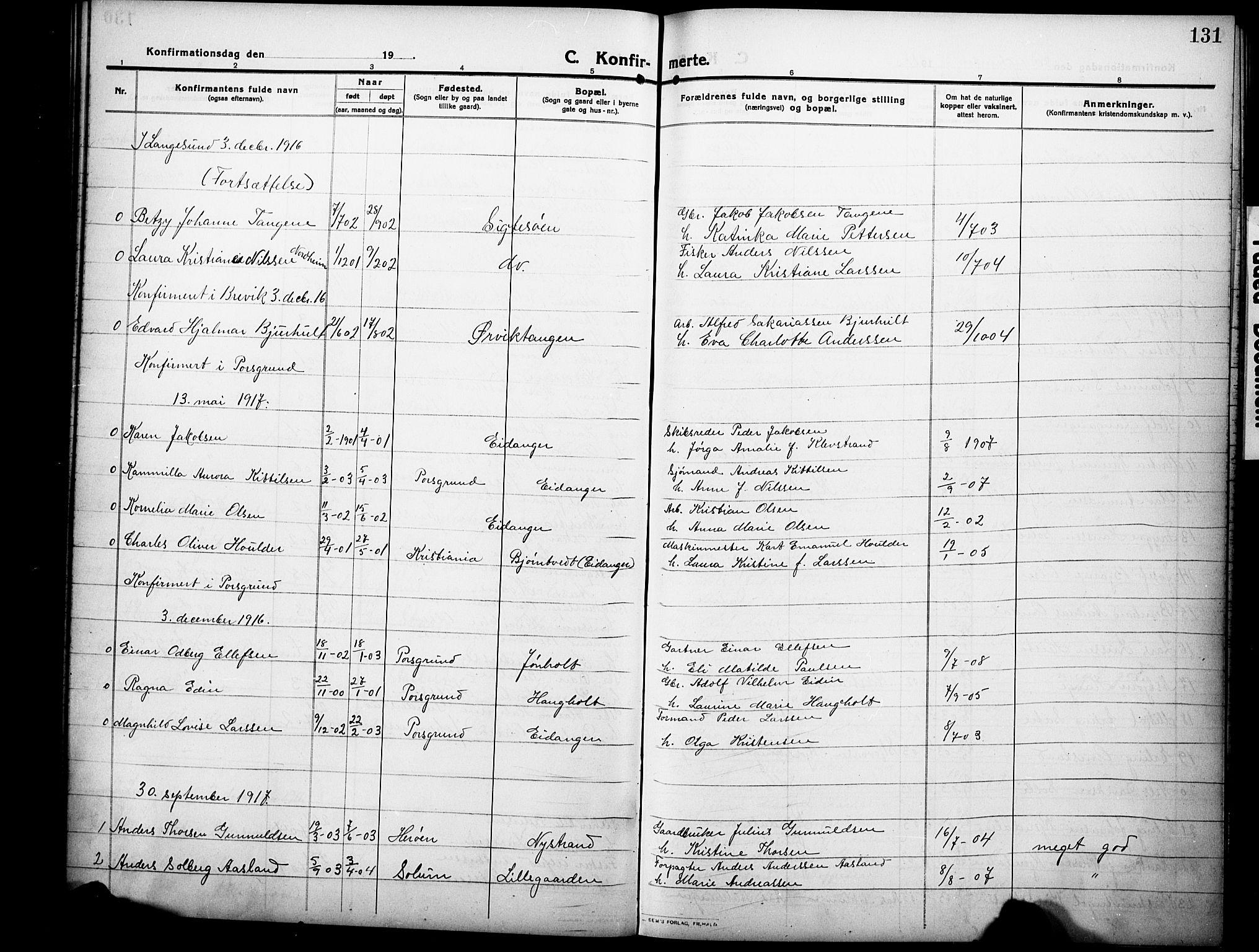 SAKO, Eidanger kirkebøker, G/Ga/L0004: Klokkerbok nr. 4, 1912-1927, s. 131