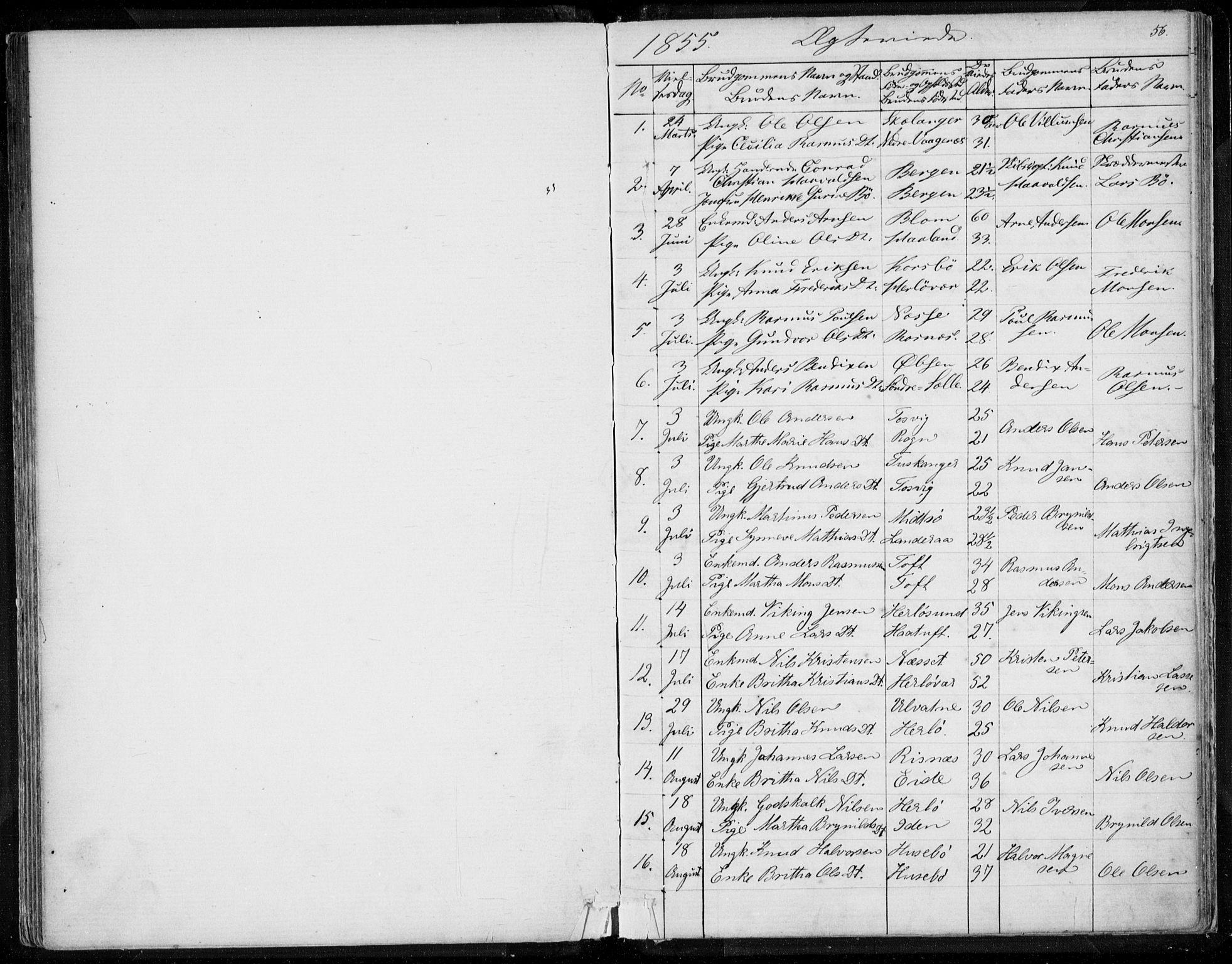 SAB, Herdla Sokneprestembete, H/Haa: Ministerialbok nr. A 1, 1855-1869, s. 56