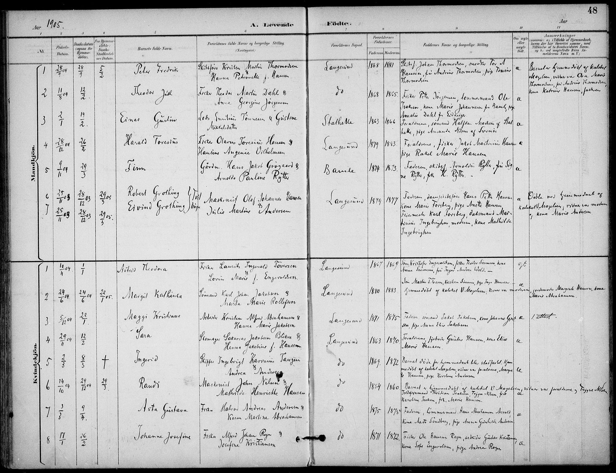SAKO, Langesund kirkebøker, F/Fa/L0003: Ministerialbok nr. 3, 1893-1907, s. 48