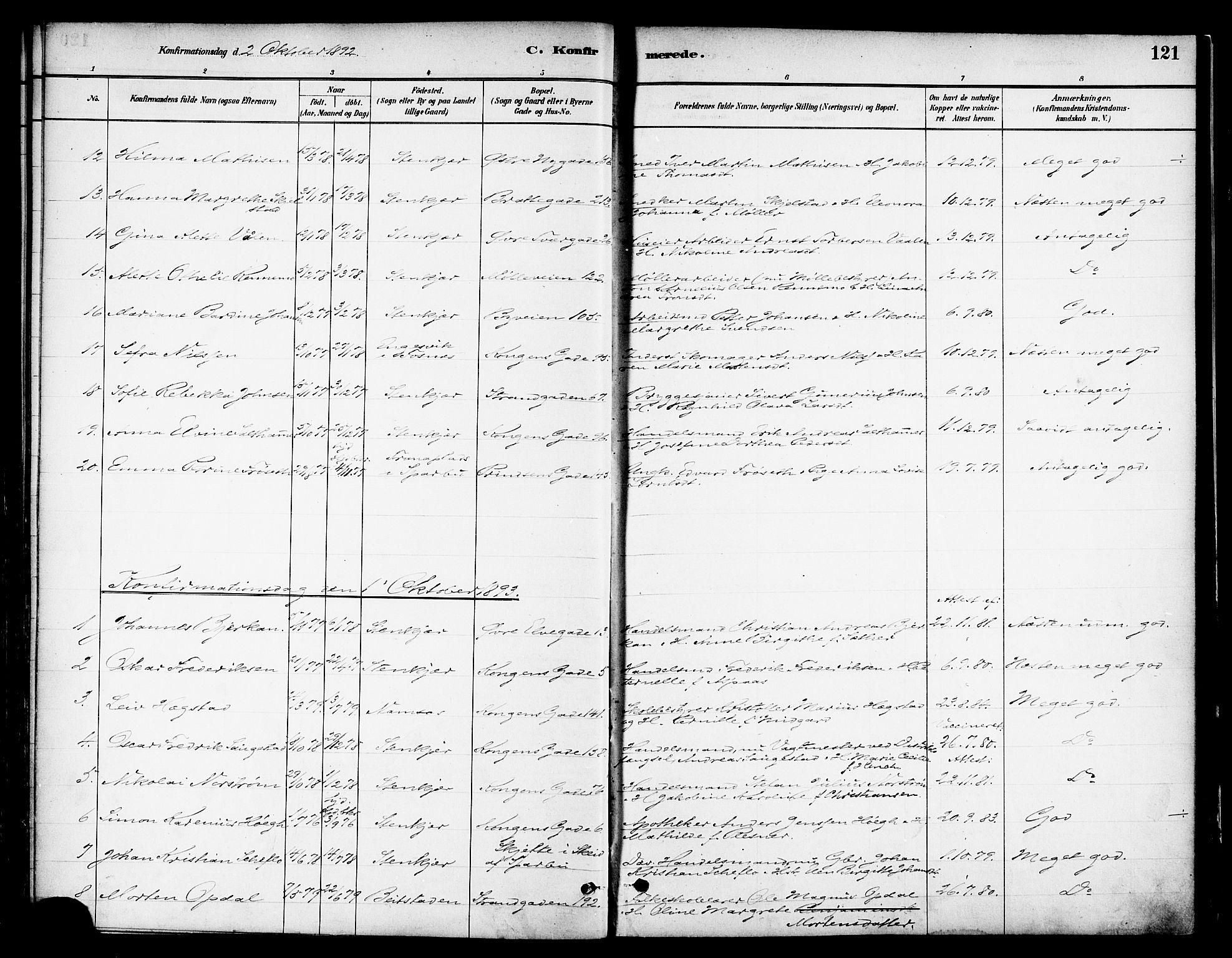 SAT, Ministerialprotokoller, klokkerbøker og fødselsregistre - Nord-Trøndelag, 739/L0371: Ministerialbok nr. 739A03, 1881-1895, s. 121