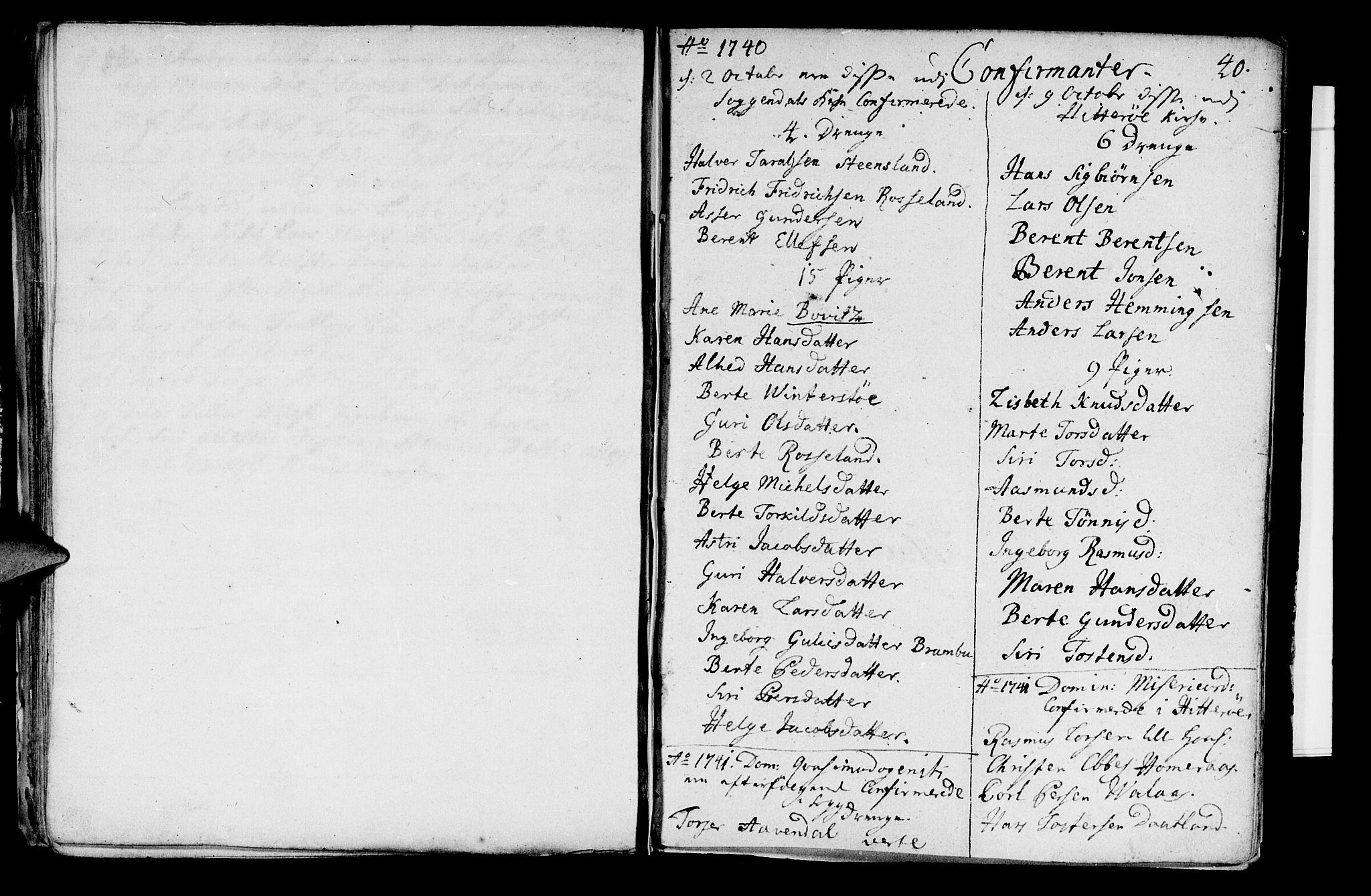 SAST, Sokndal sokneprestkontor, Ministerialbok nr. A 2, 1740-1743, s. 40