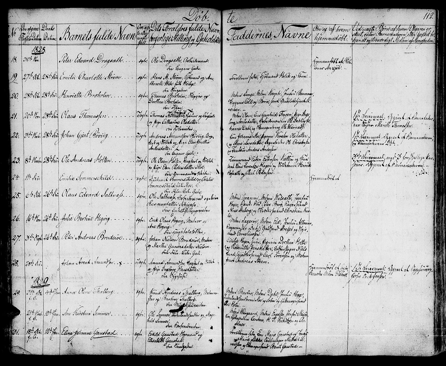 SAT, Ministerialprotokoller, klokkerbøker og fødselsregistre - Sør-Trøndelag, 601/L0045: Ministerialbok nr. 601A13, 1821-1831, s. 112