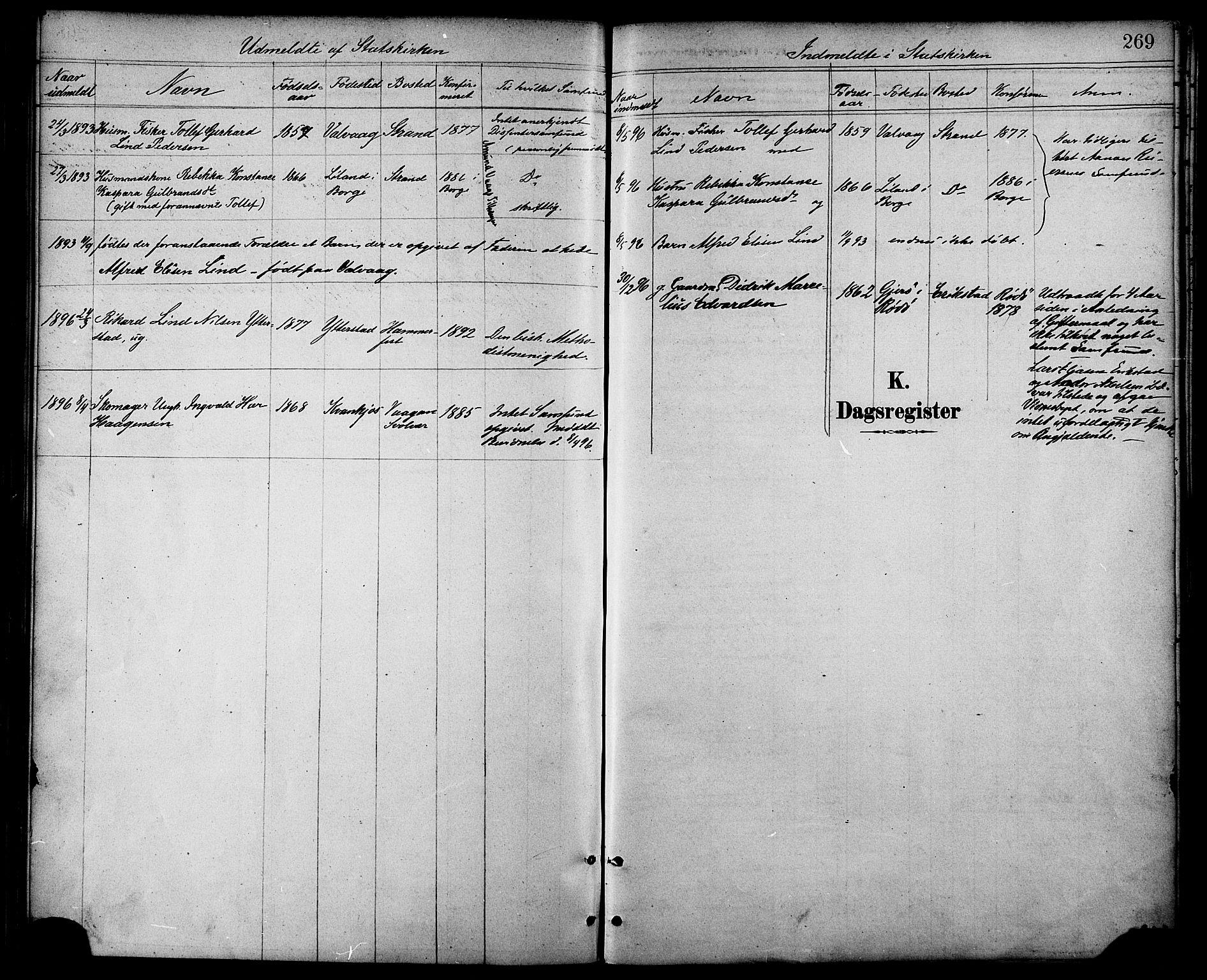 SAT, Ministerialprotokoller, klokkerbøker og fødselsregistre - Nordland, 872/L1035: Ministerialbok nr. 872A10, 1884-1896, s. 269