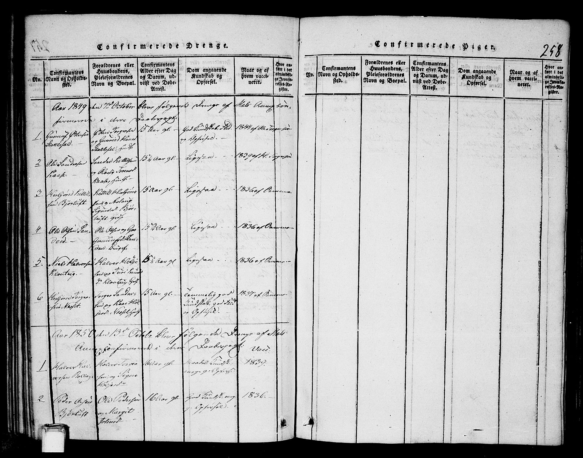 SAKO, Tinn kirkebøker, G/Gb/L0001: Klokkerbok nr. II 1 /1, 1815-1850, s. 258