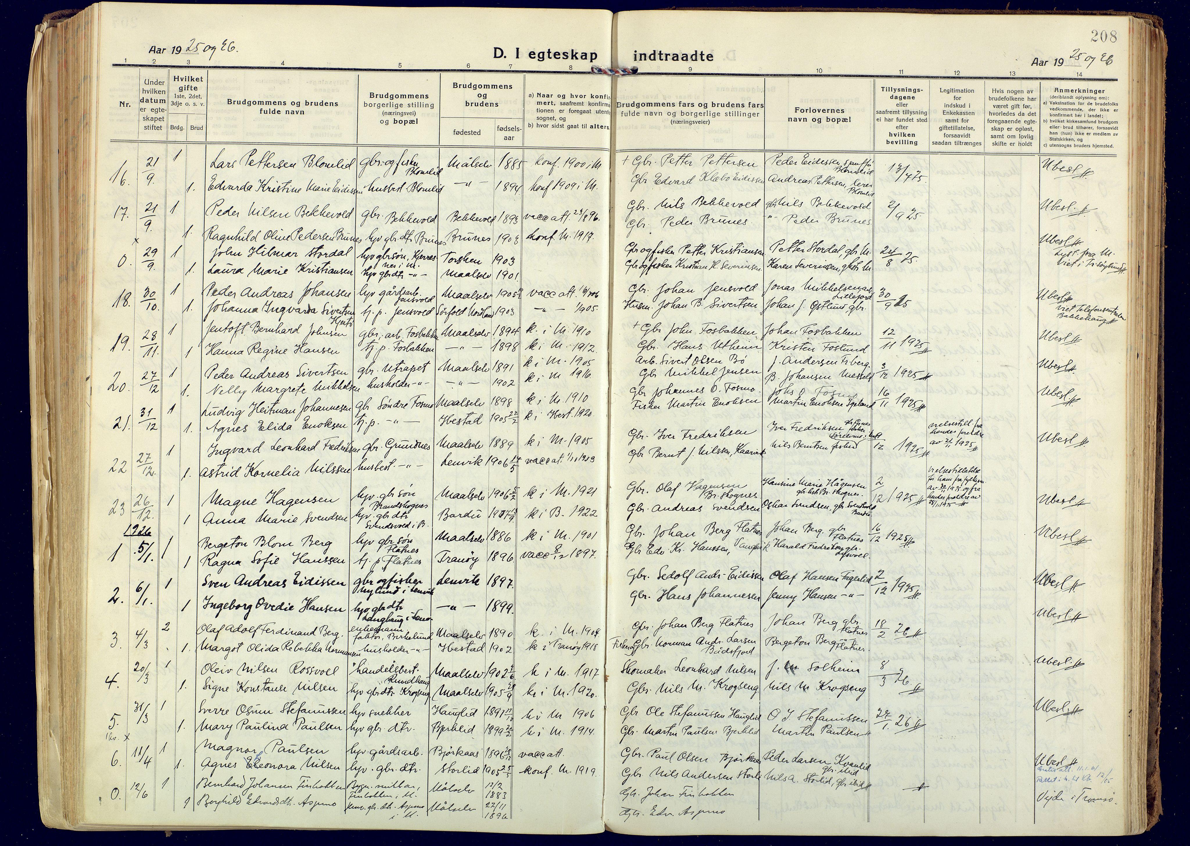 SATØ, Målselv sokneprestembete, Ministerialbok nr. 14, 1919-1932, s. 208