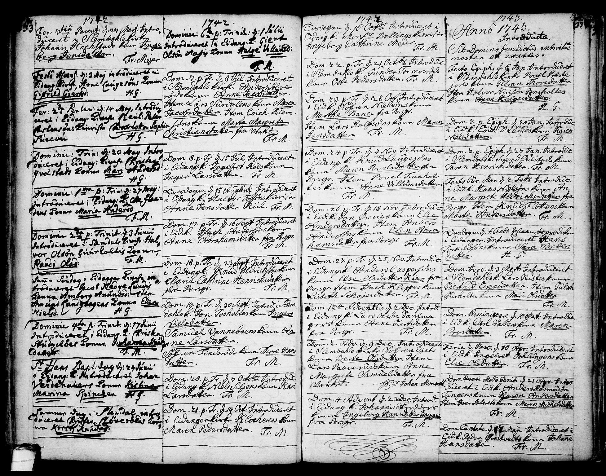 SAKO, Eidanger kirkebøker, F/Fa/L0004: Ministerialbok nr. 4, 1733-1759, s. 333-334