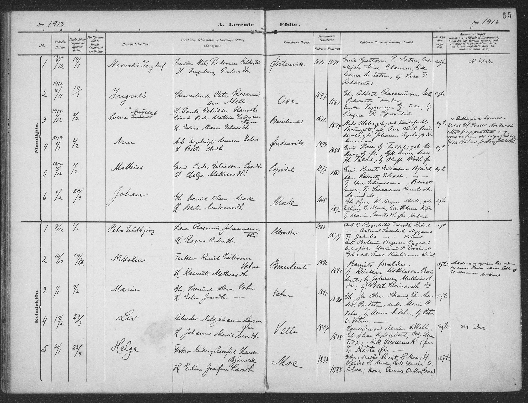 SAT, Ministerialprotokoller, klokkerbøker og fødselsregistre - Møre og Romsdal, 513/L0178: Ministerialbok nr. 513A05, 1906-1919, s. 55