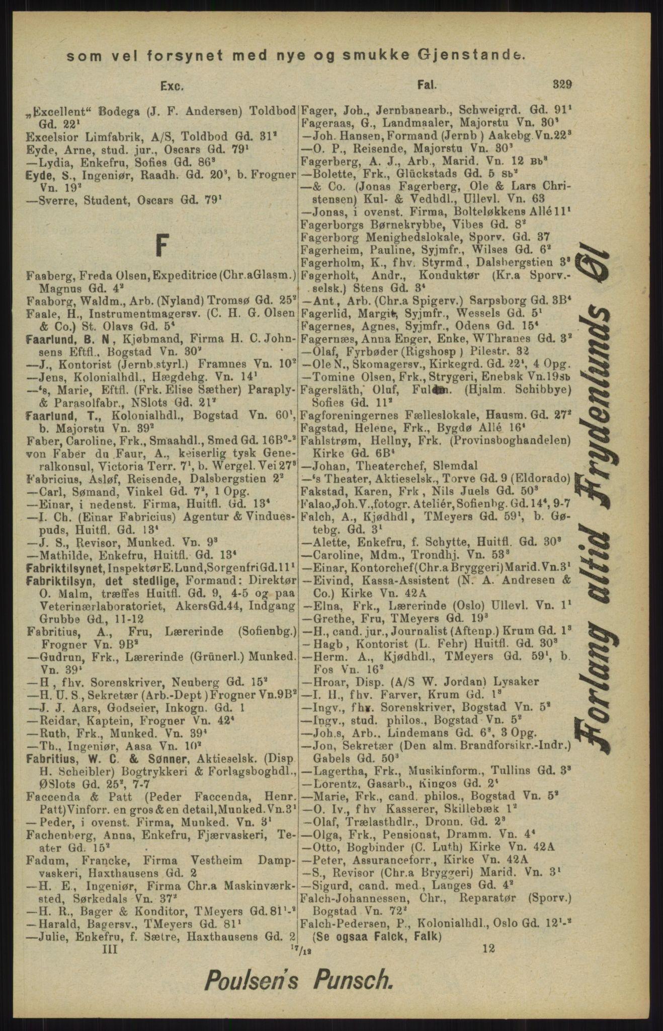 RA, Kristiania adressebok (publikasjon)*, 1904, s. 329