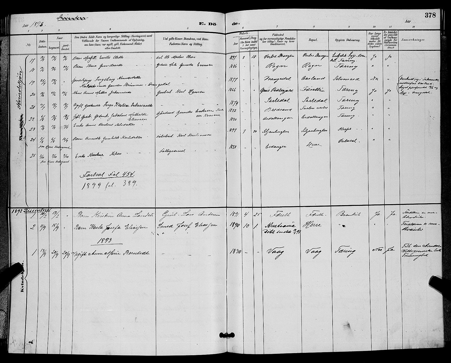 SAKO, Bamble kirkebøker, G/Ga/L0009: Klokkerbok nr. I 9, 1888-1900, s. 378